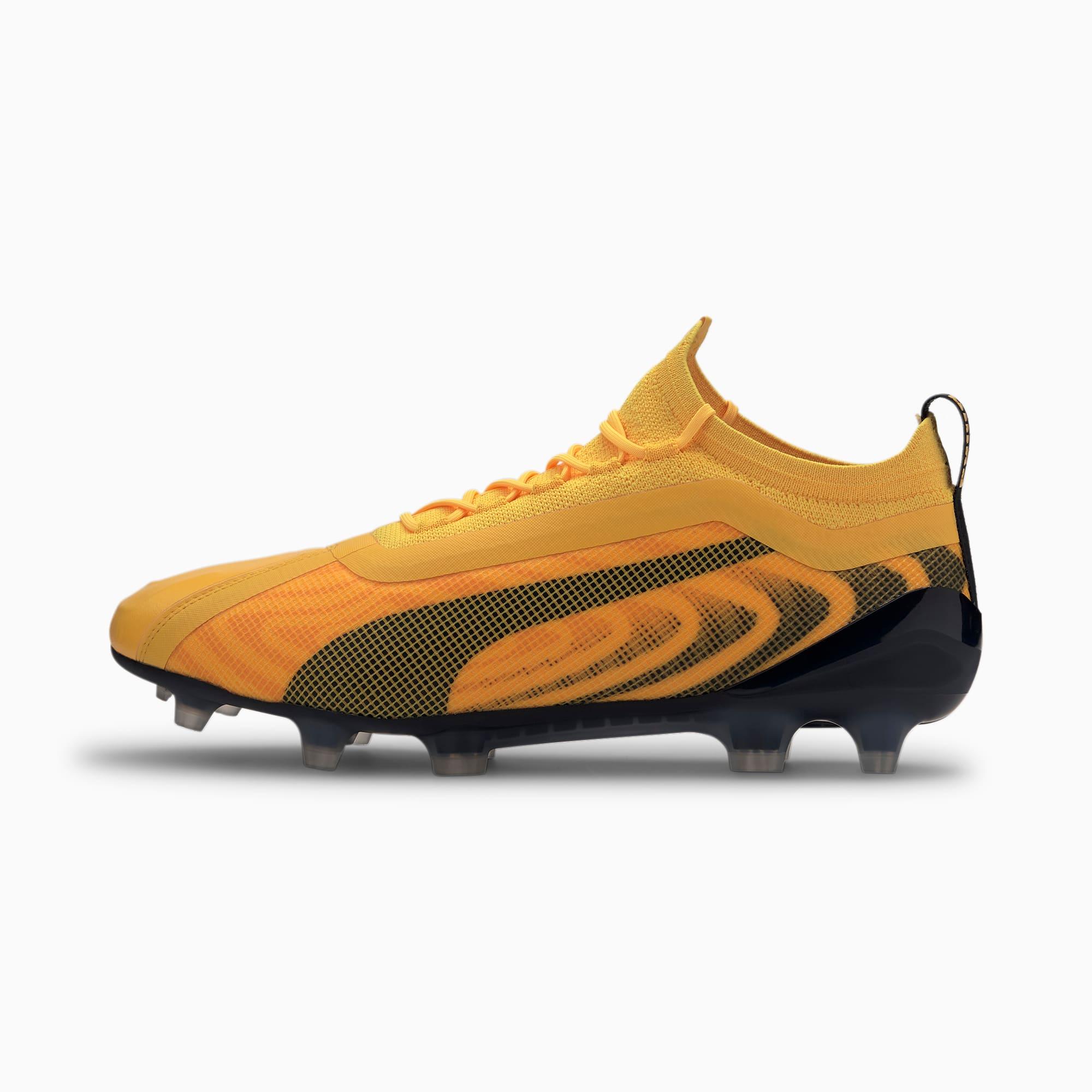 PUMA ONE 20.1 FG/AG voetbalschoenen voor Heren, Zwart/Geel/Oranje/Aucun, Maat 42,5