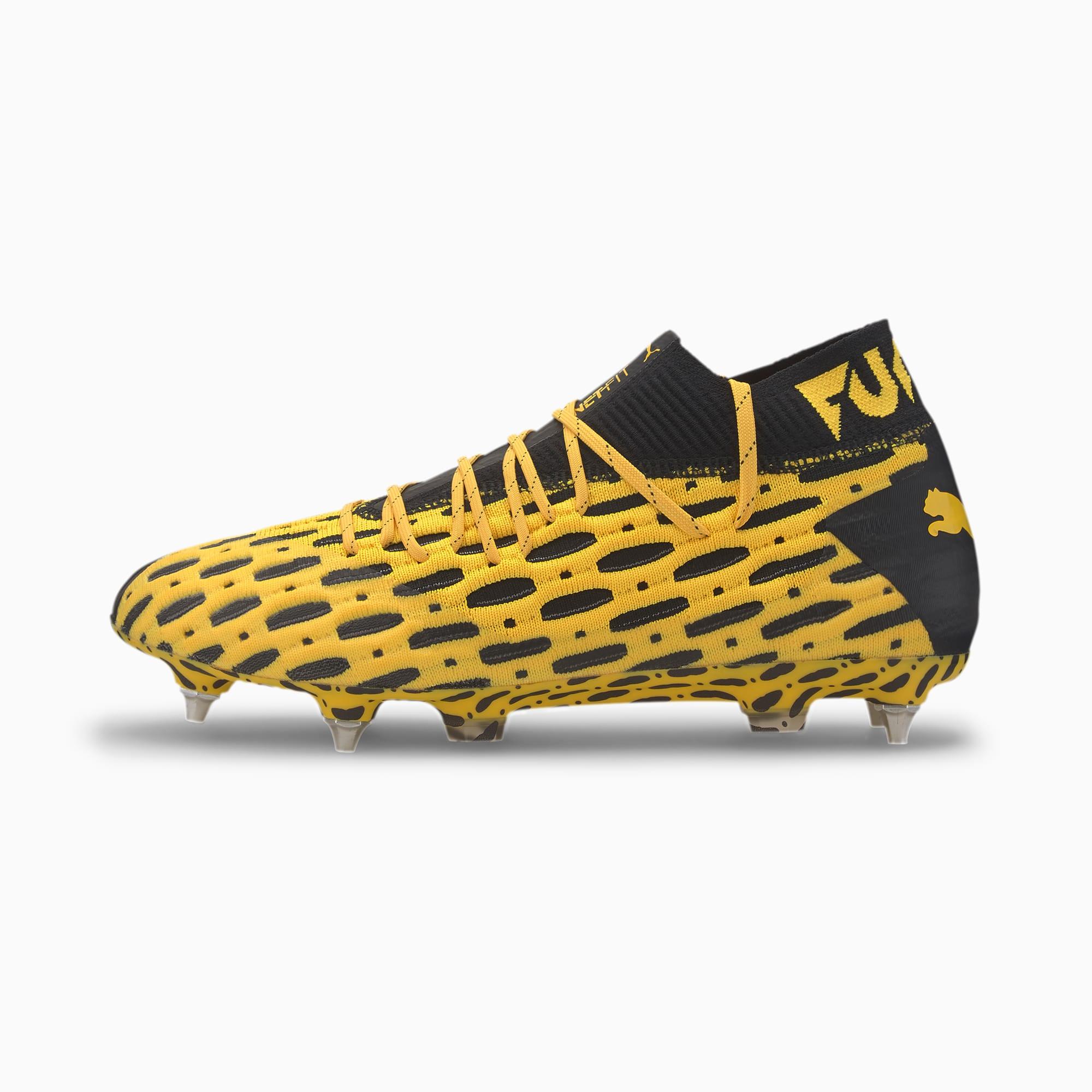 FUTURE 5.1 NETFIT MxSG voetbalschoenen, Zwart/Geel/Aucun, Maat 37,5 | PUMA