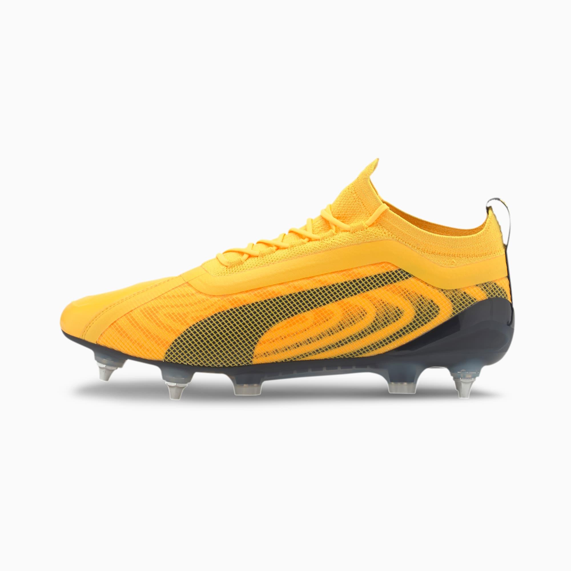 PUMA ONE 20.1 MxSG voetbalschoenen, Zwart/Geel/Oranje/Aucun, Maat 38,5