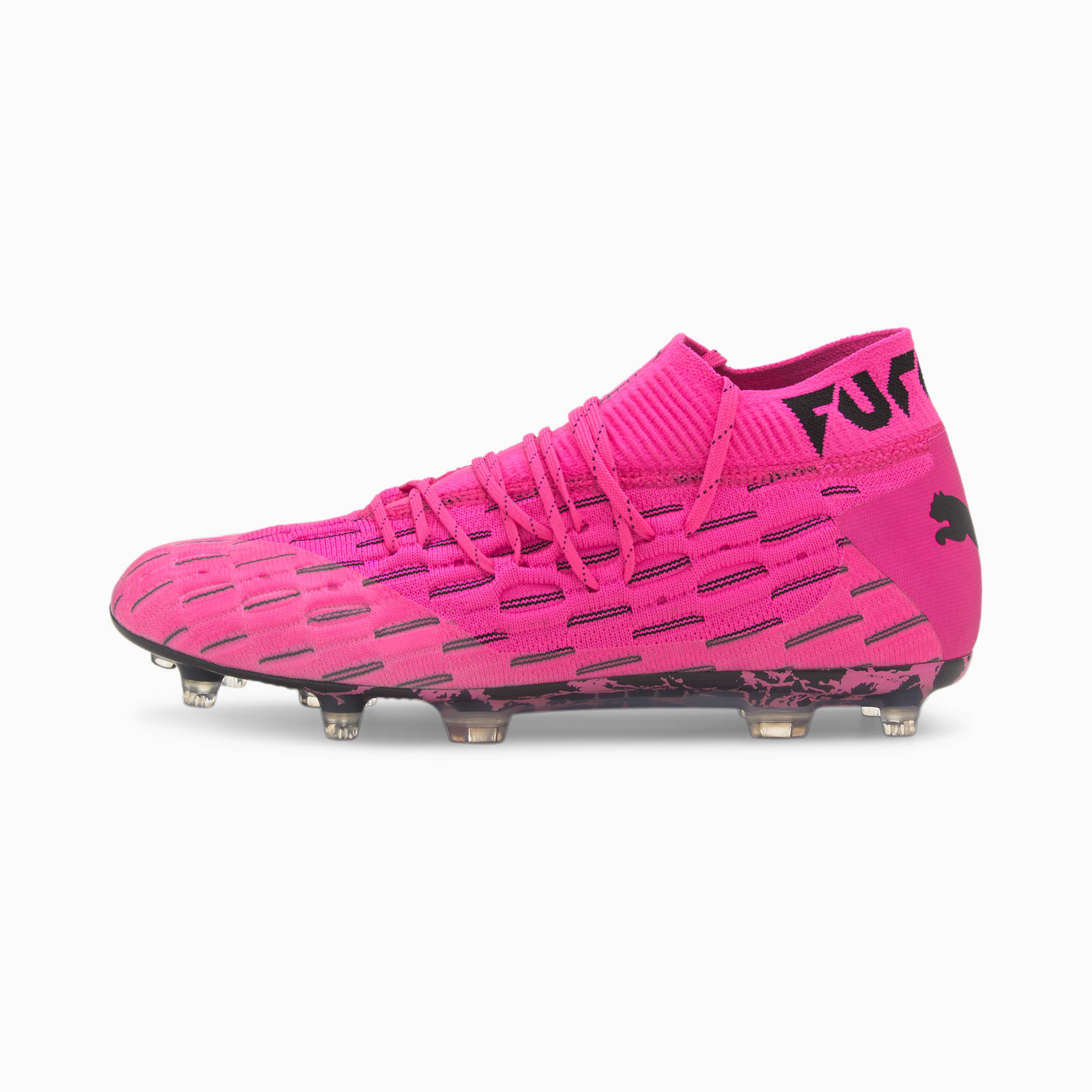 PUMA Chaussures de football Future 6.1 NETFIT FG/AG, Rose/Noir, Taille 44, Vêtements