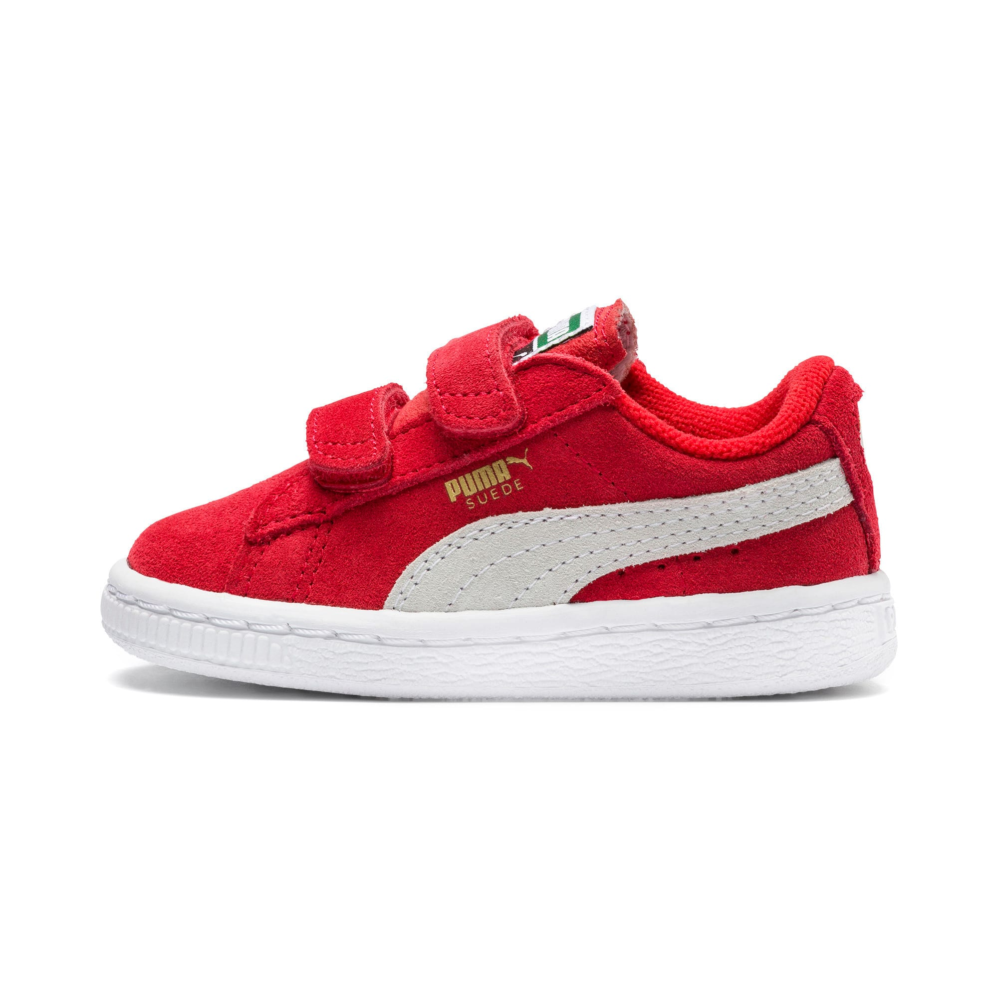 Suede Two-strap Babies' Trainers, Rood/Wit, Maat 25   PUMA