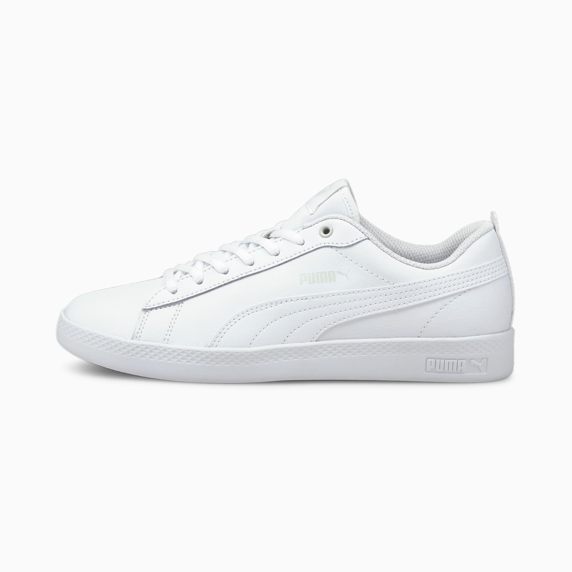 PUMA Damskie Buty Sportowe Ze Skóry Smash V2 Biały, rozmiar 35,5, Obuwie