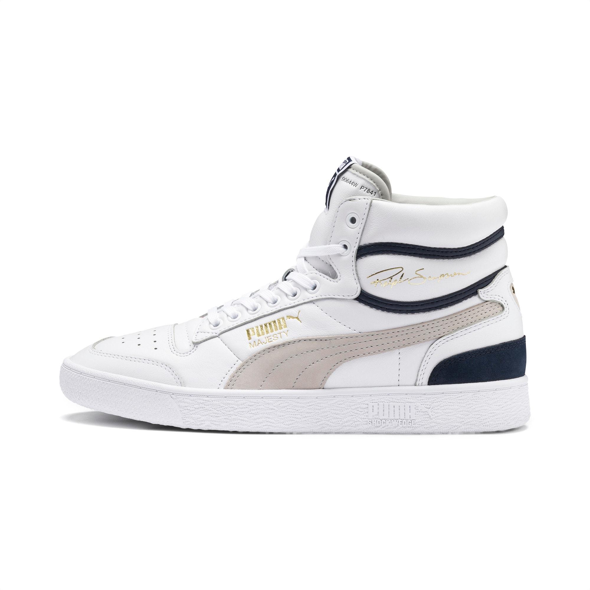 chaussure basket ralph sampson mid og, blanc/bleu/gris, taille 47, chaussures