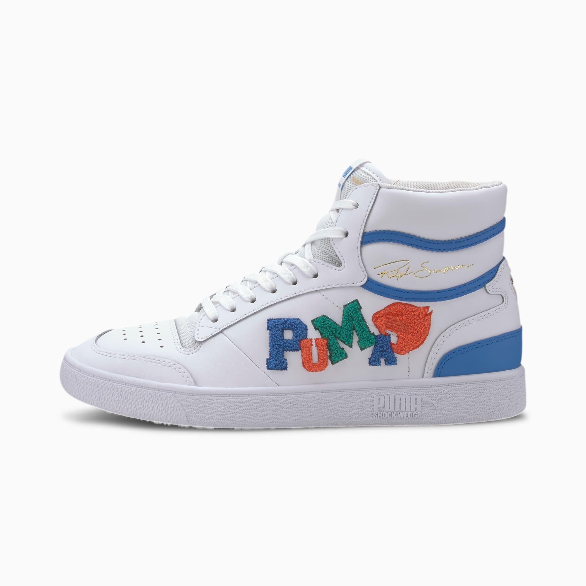 chaussure basket ralph sampson mid badges, blanc/bleu, taille 41, chaussures