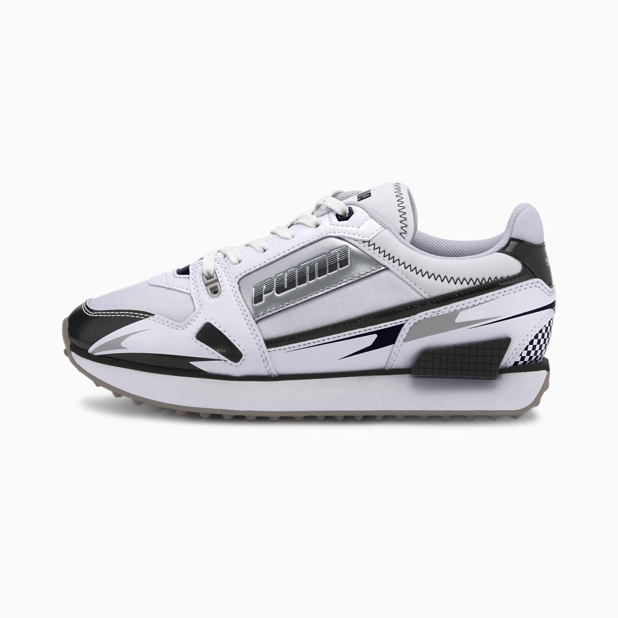 Image of PUMA Mile Rider Sunny Getaway Damen Sneaker Schuhe | Mit Aucun | Weiß/Schwarz | Größe: 39