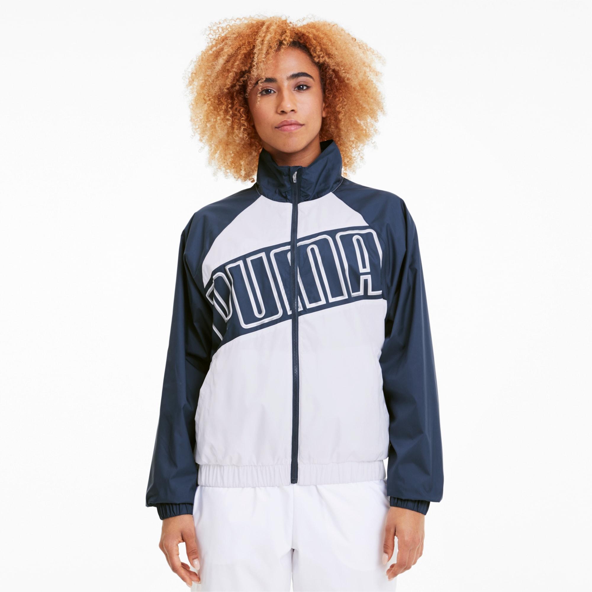 puma -  Feel It Damen Training Gewebter Windbreaker | Mit Aucun | Weiß/Blau | Größe: S