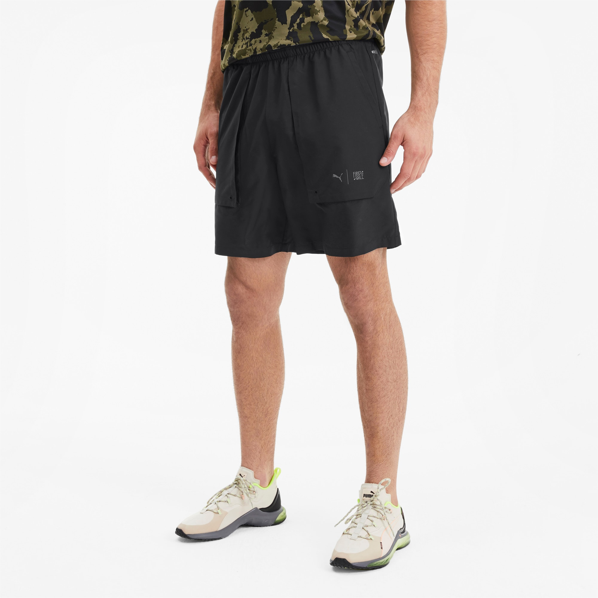 PUMA x FIRST MILE Herren Running Gewebte Shorts   Mit Aucun   Schwarz   Größe: L