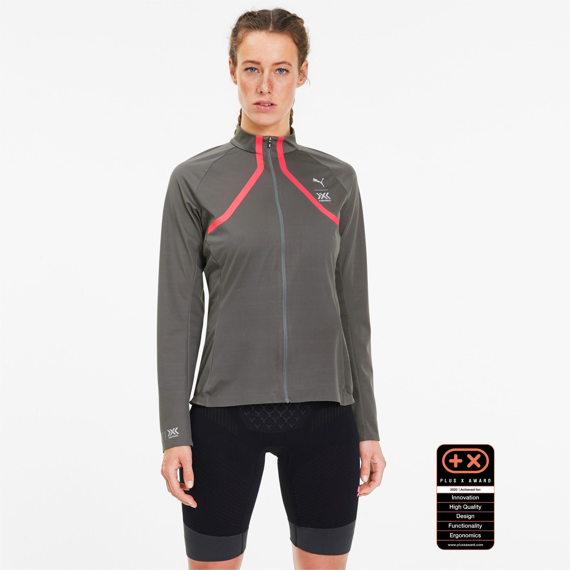 Image of PUMA by X-BIONIC RainSphere Damen Running Jacke | Mit Aucun | Grau/Rosa | Größe: L