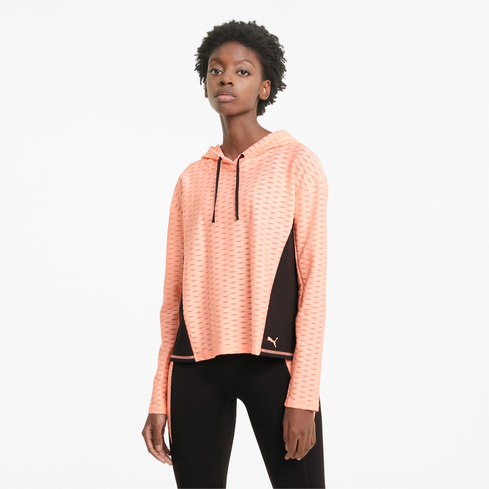 PUMA Damska Wkładana Przez Głowę Bluza Treningowa Z Kapturem Flawless, Brzoskwiniowy, rozmiar XS, Odzież
