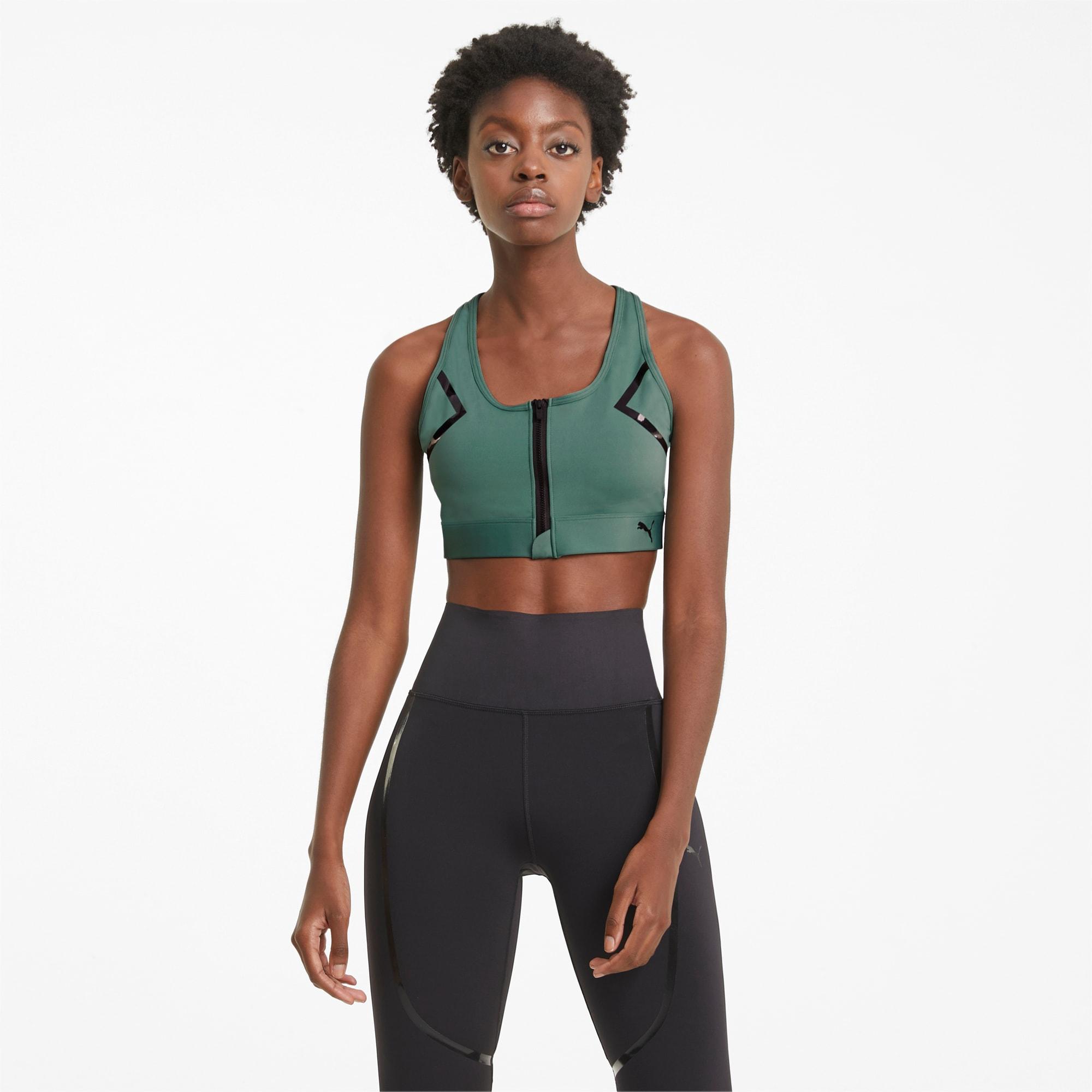PUMA Front Zip Women's High Impact Bra, Blue Spruce, size X Small, Clothing