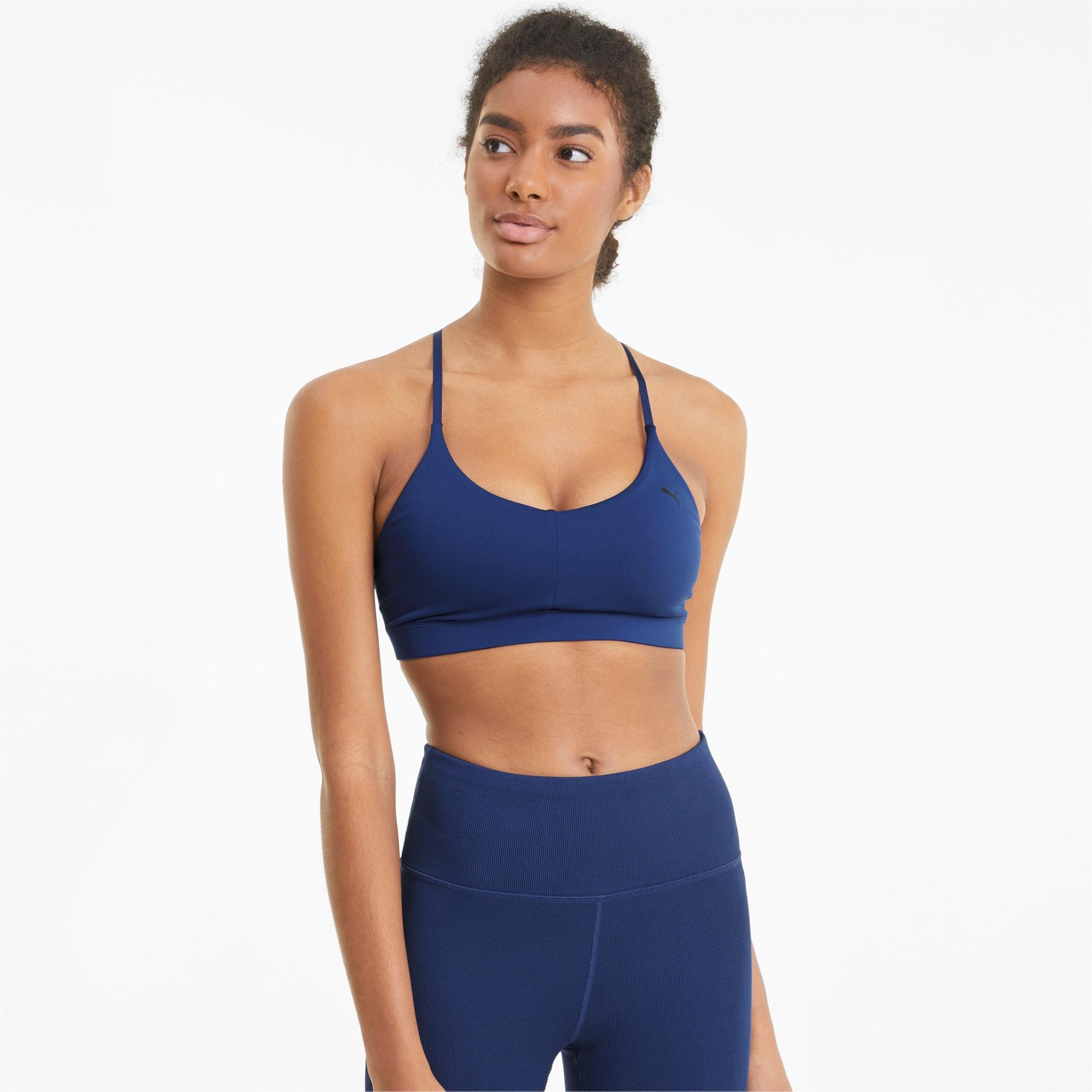 PUMA Low Impact Strappy Women's Training Bra, Elektro Blue, size Small, Clothing