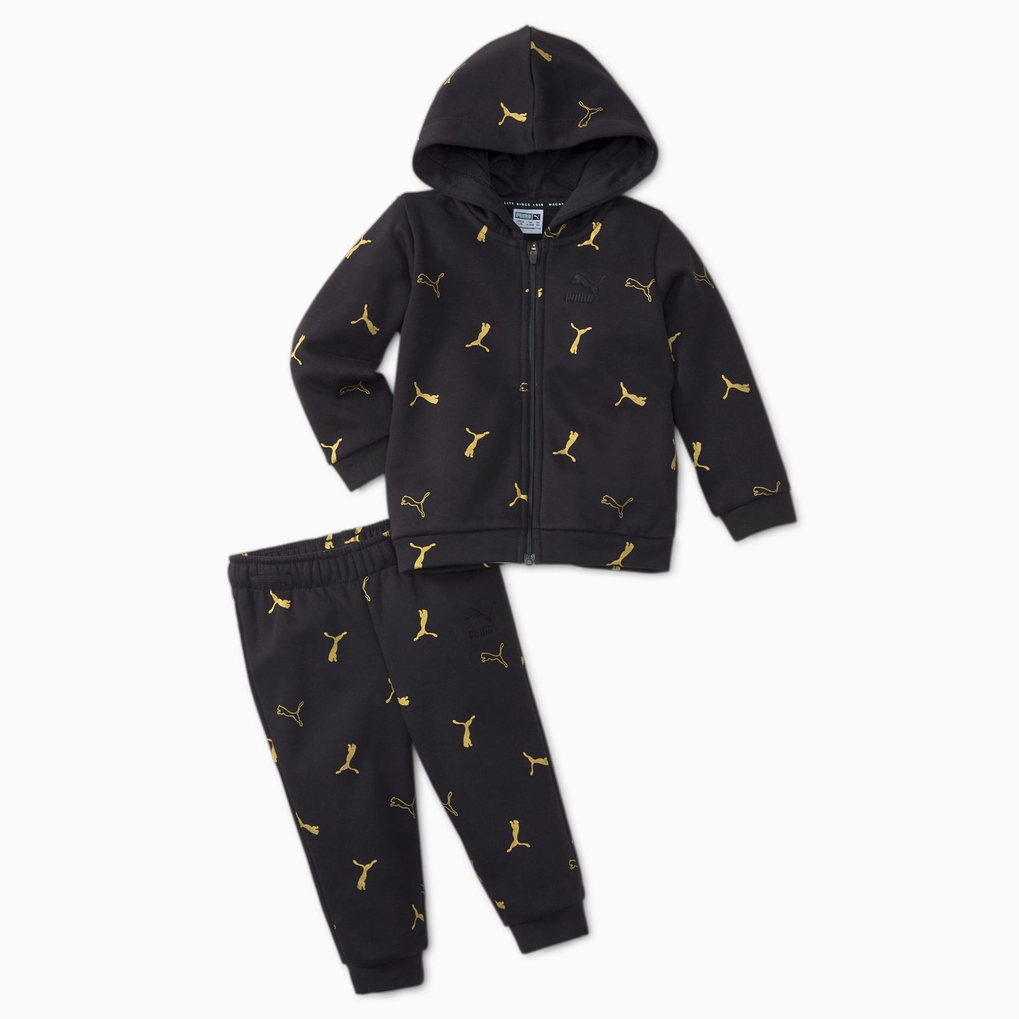 PUMA Minicats Brand Love Printed Babies' Jogger Set, Black, size 1-2 Youth, Clothing
