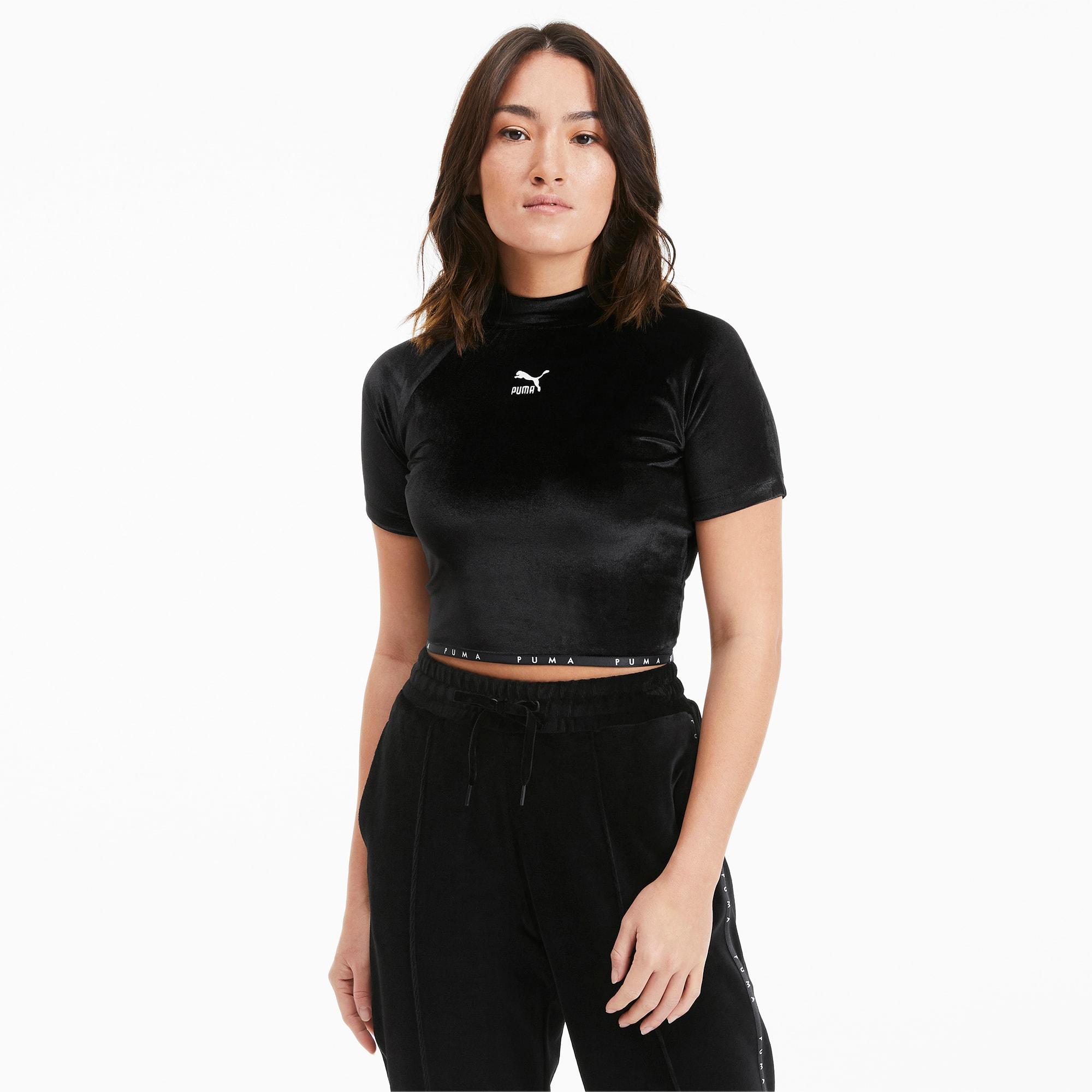 puma -  High Neck Damen T-Shirt aus Velours   Mit Aucun   Schwarz   Größe: XXS