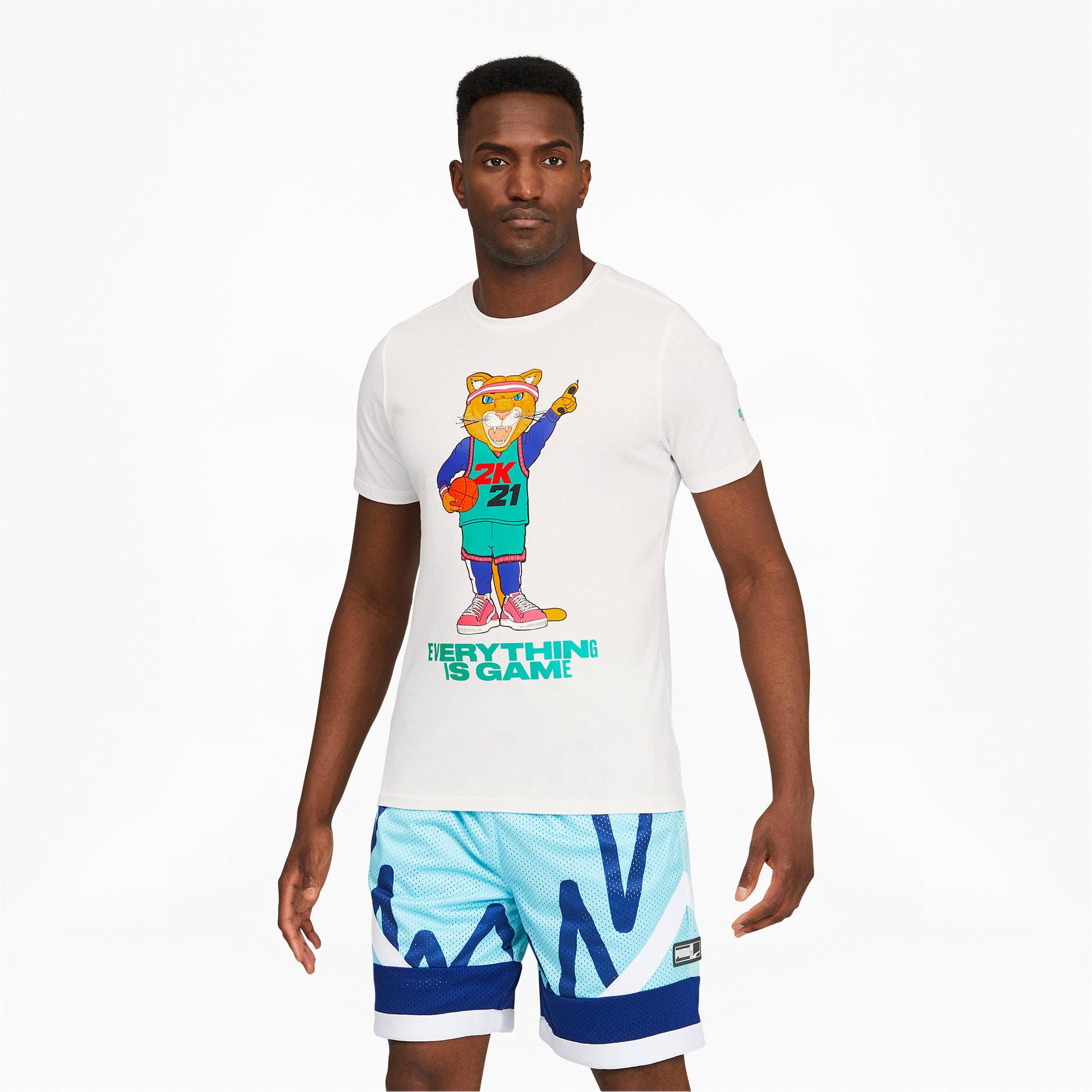 PUMA 2K Dylan Herren Basketball-T-Shirt   Mit Aucun   Weiß/Blau   Größe: XS