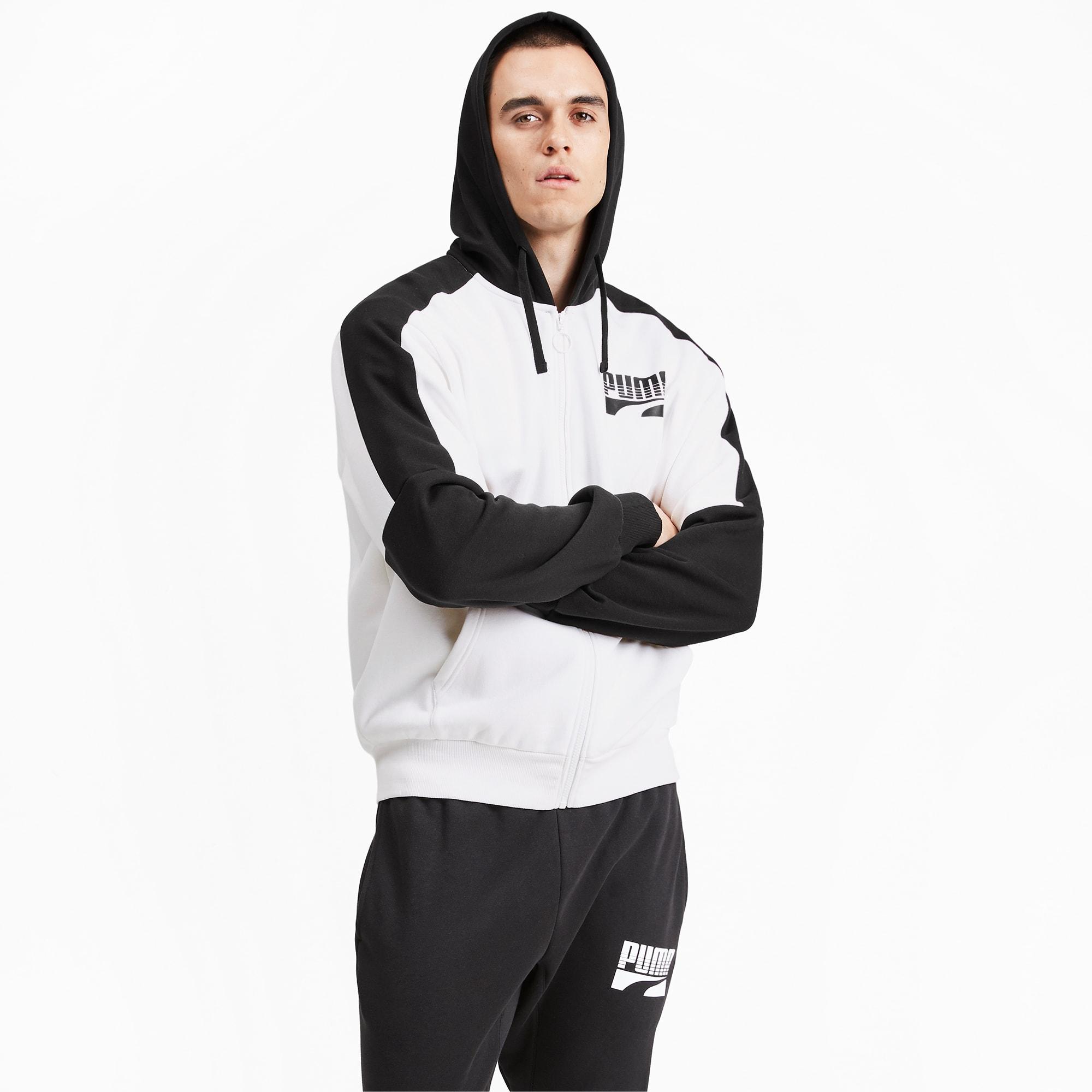 blouson en sweat rebel block avec capuche pour homme, blanc, taille xs, vêtements