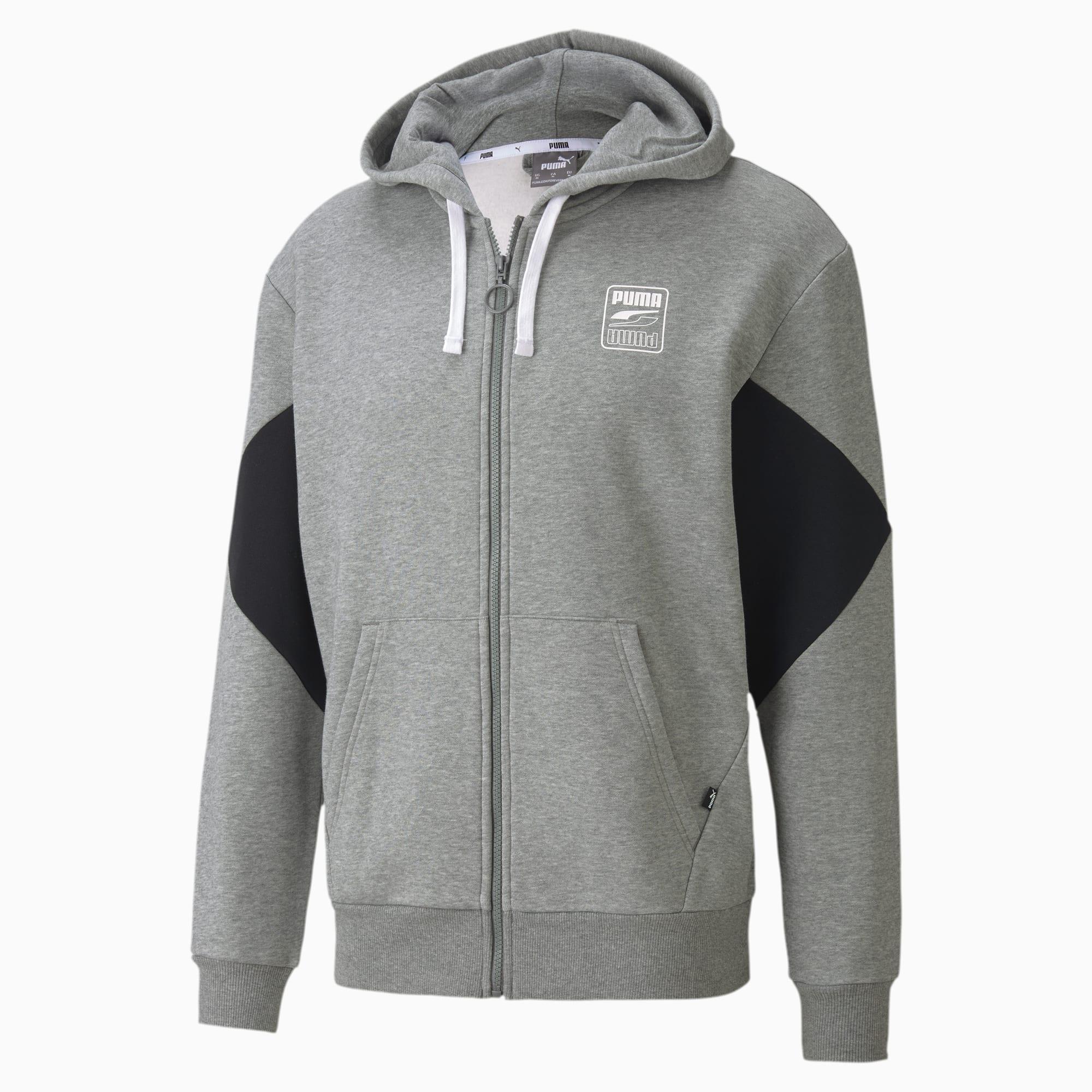 blouson en sweat rebel avec capuche pour homme, gris/bruyère, taille xs, vêtements