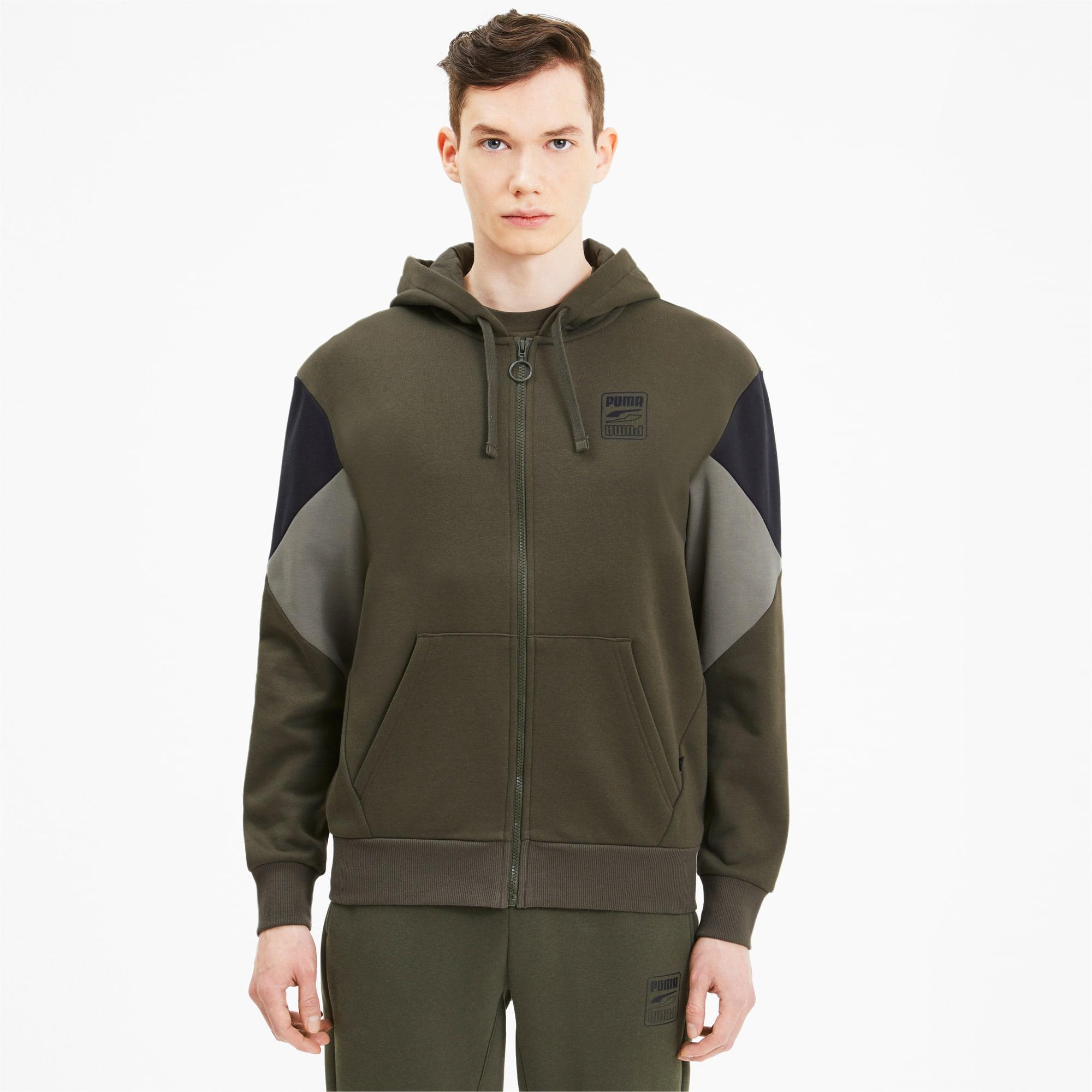 blouson en sweat rebel avec capuche pour homme, vert, taille m, vêtements