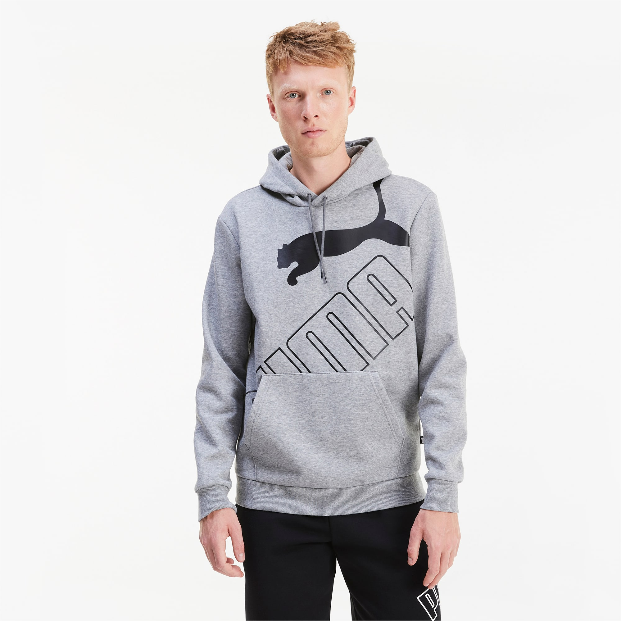 sweatshirt à capuche big logo pour homme, gris/bruyère, taille xs, vêtements