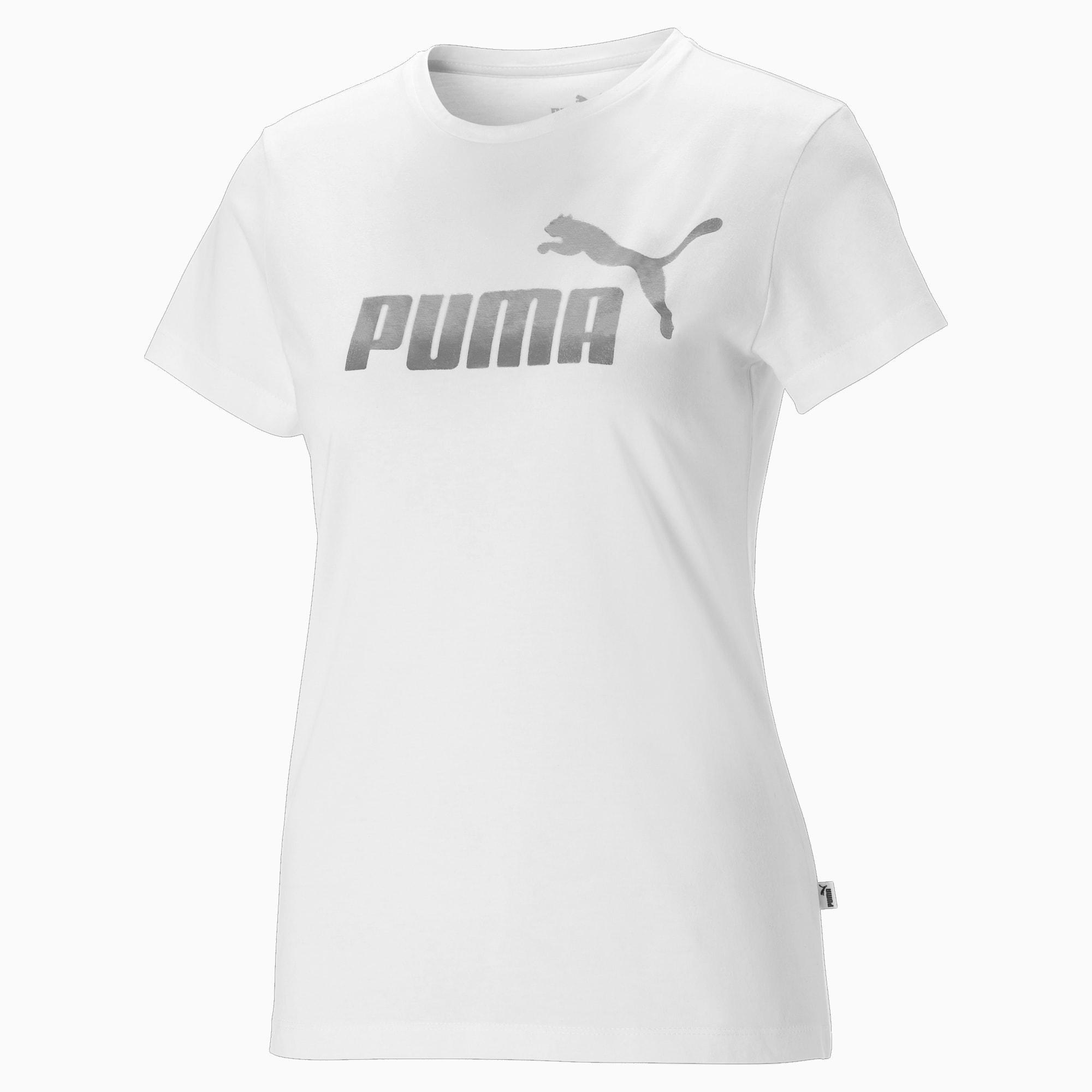 puma -  Essentials+ Metallic Logo Damen T-Shirt | Mit Aucun | Weiß/Silber | Größe: M