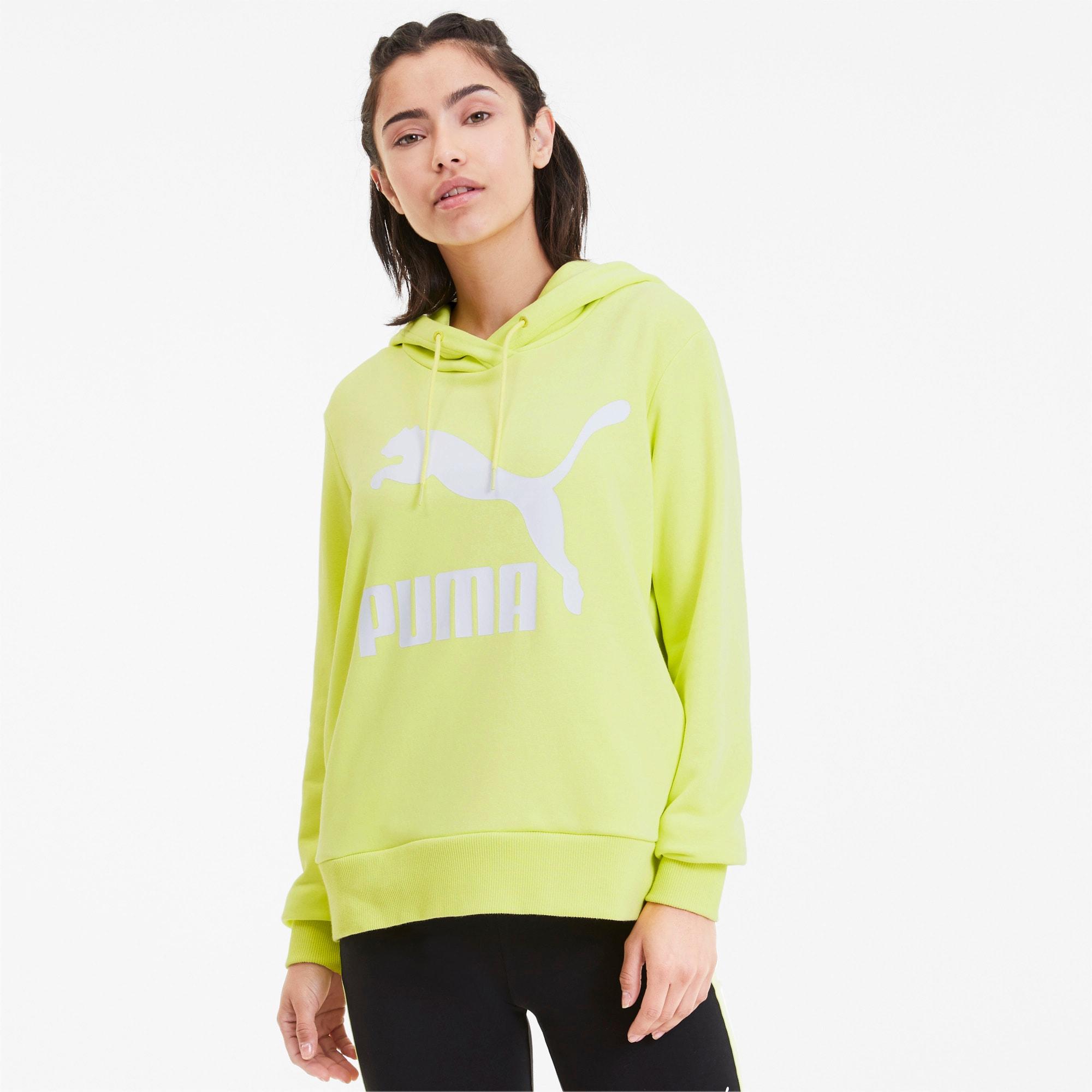 PUMA Damska Bluza Z Kapturem Classics Logo, Zielony, rozmiar XS, Odzież