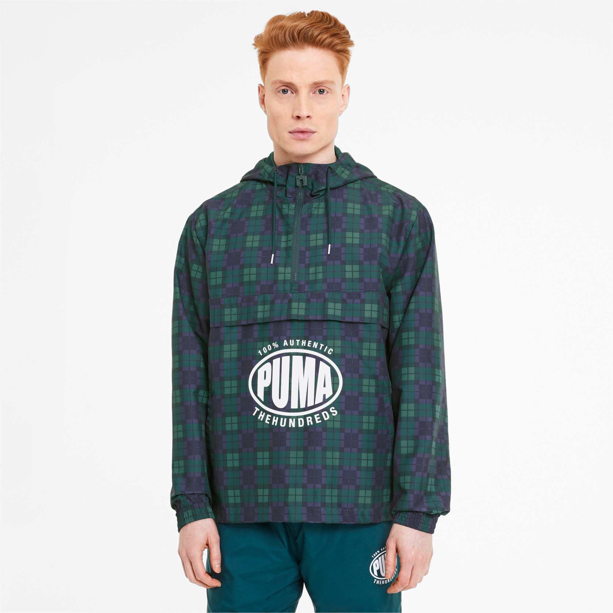 puma -  x THE HUNDREDS Herren Windbreaker | Mit Abstract Muster | Weiß | Größe: XXL