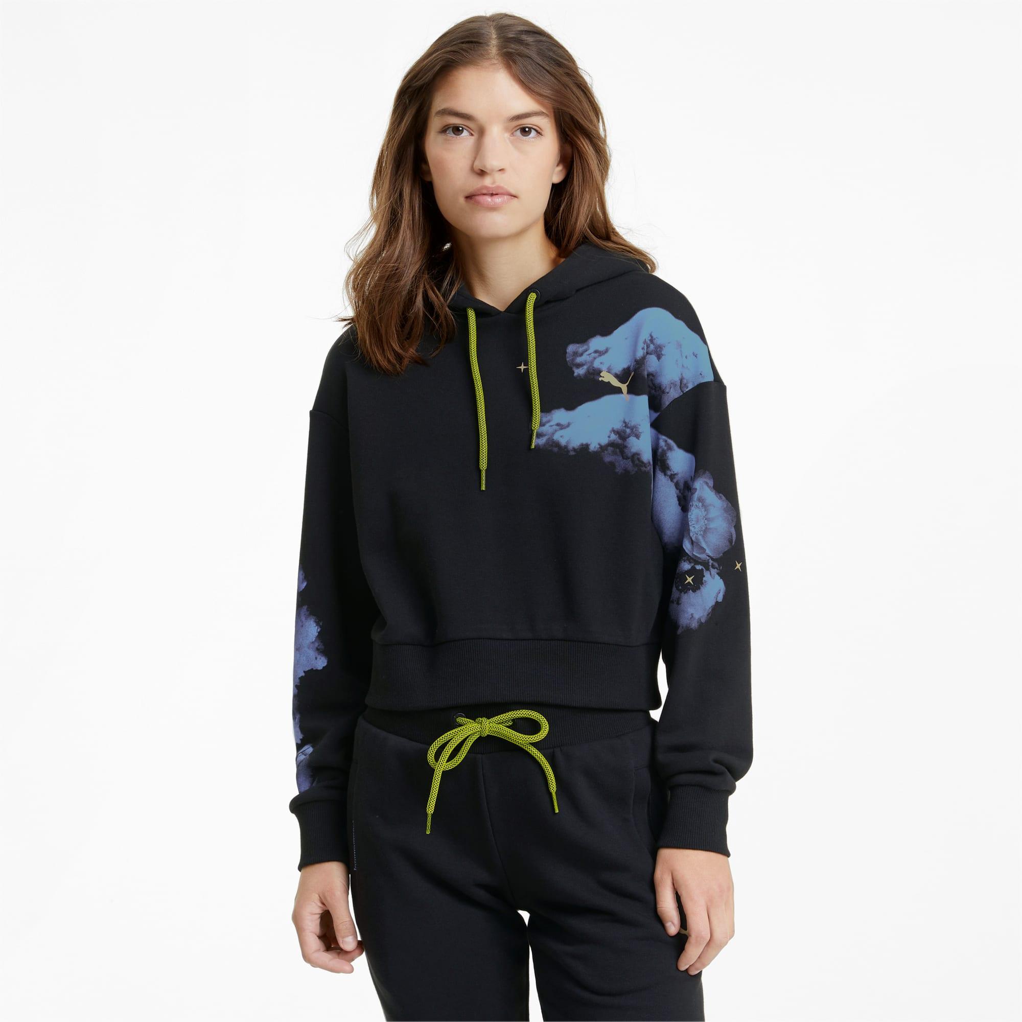 Evide hoodie met grafische print dames, Zwart, Maat XL | PUMA