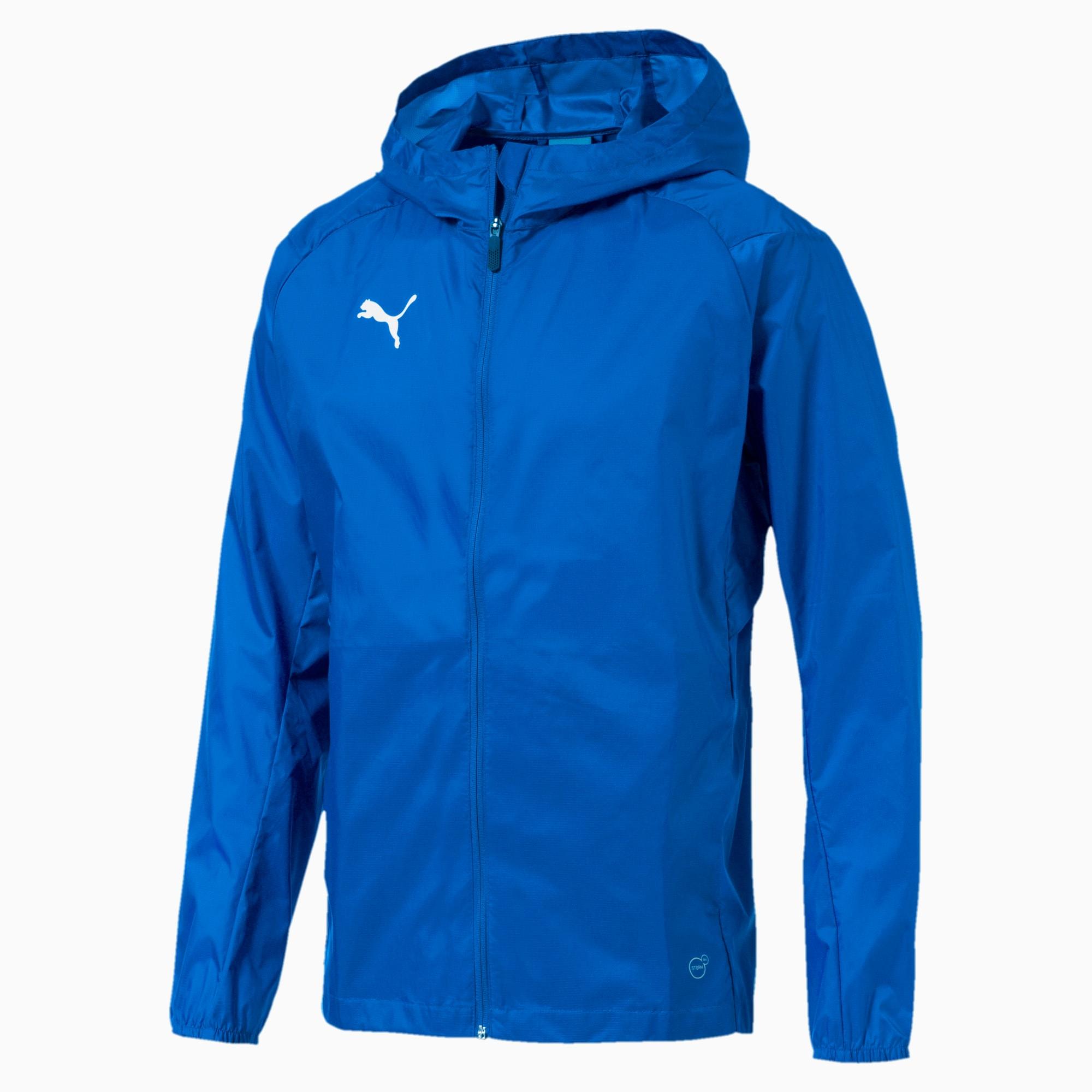 blouson imperméable avec capuche liga training football pour homme, bleu, taille s, vêtements