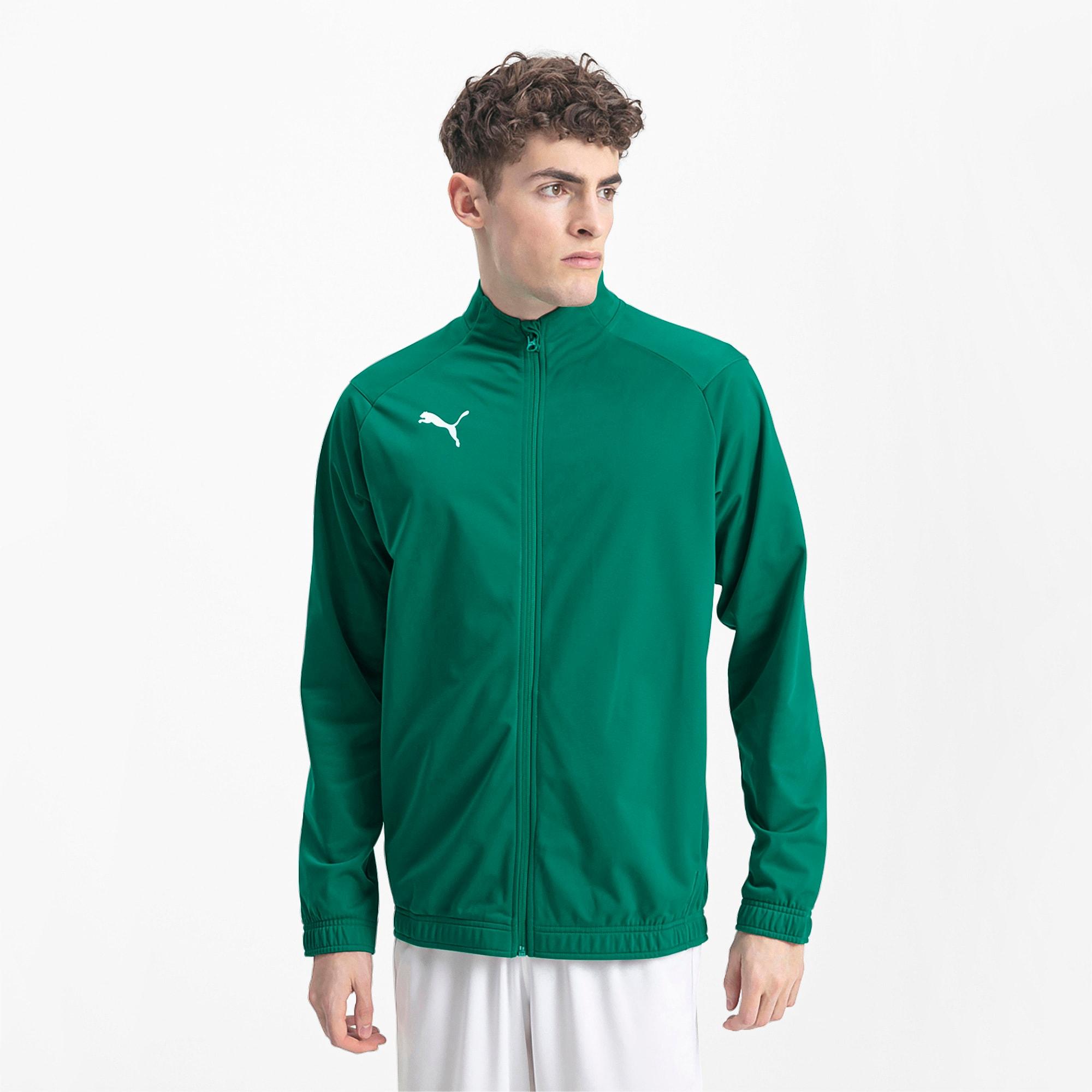 blouson de football liga sideline poly core pour homme, vert/blanc, taille m, vêtements