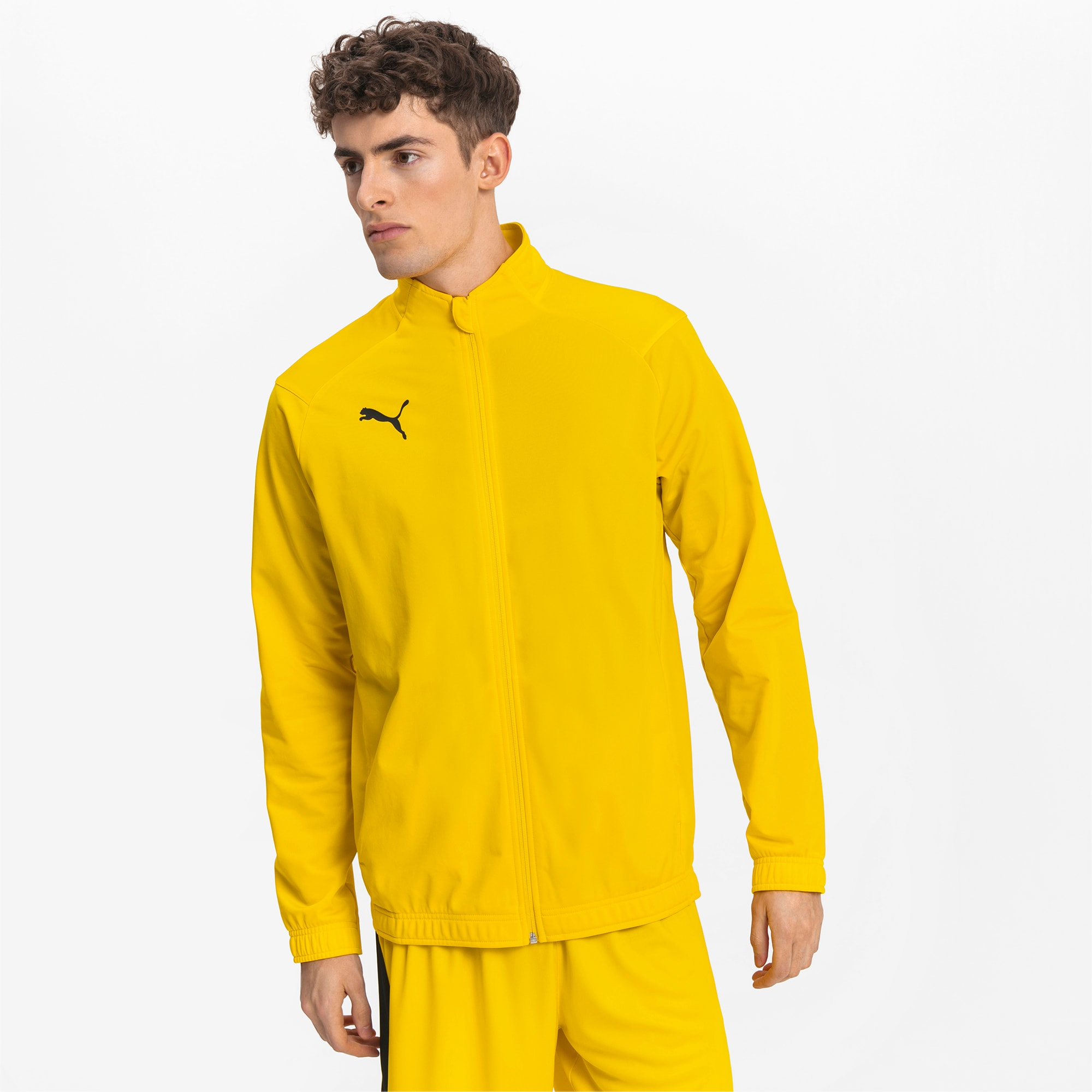 blouson de football liga sideline poly core pour homme, jaune/noir, taille s, vêtements