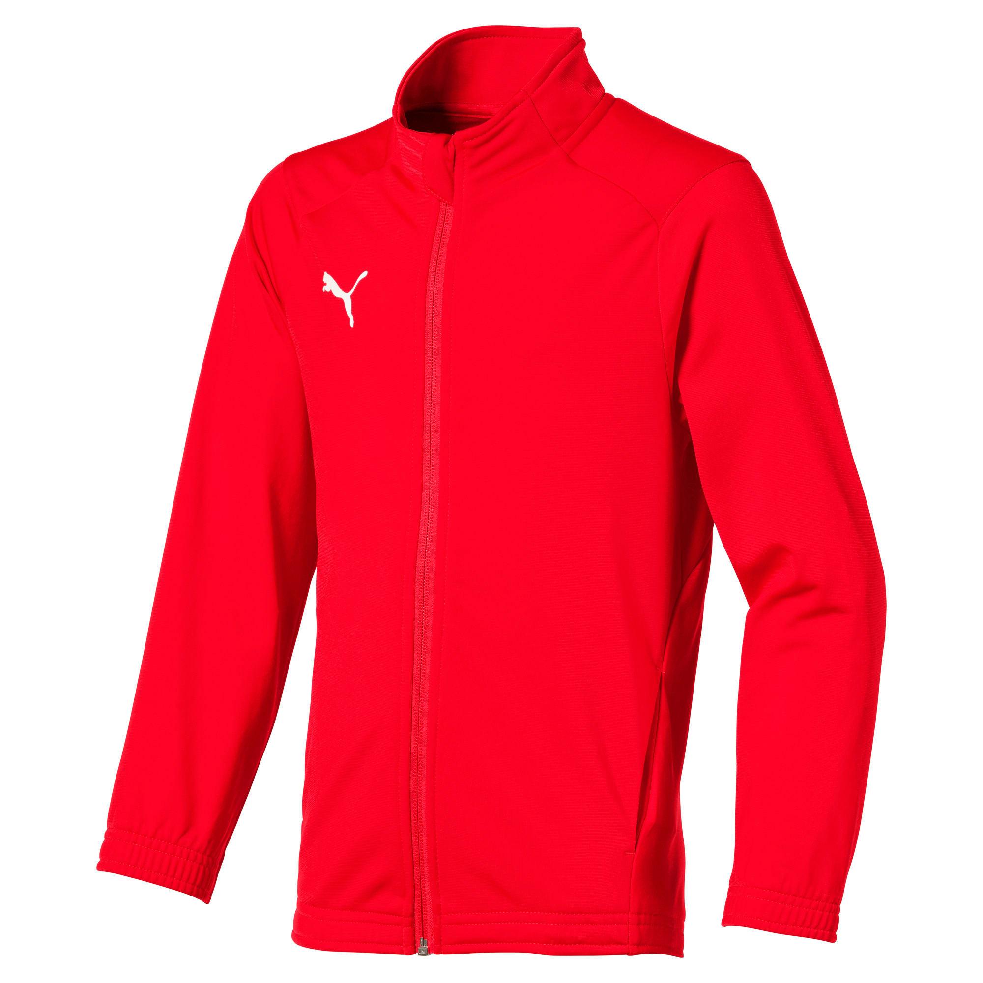 Football Kids' LIGA Sideline Core Jacket, Wit/Rood, Maat 152 | PUMA