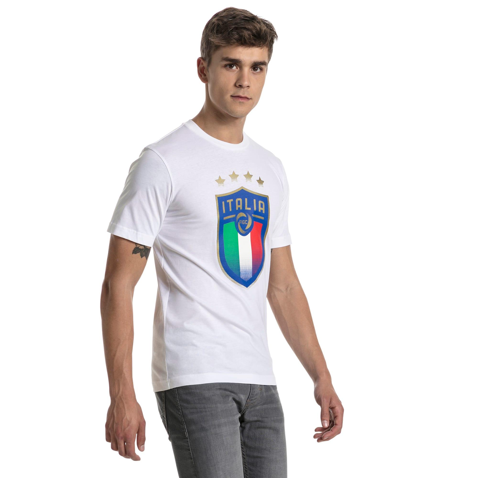 t-shirt italia avec emblème pour homme, blanc, taille s, vêtements