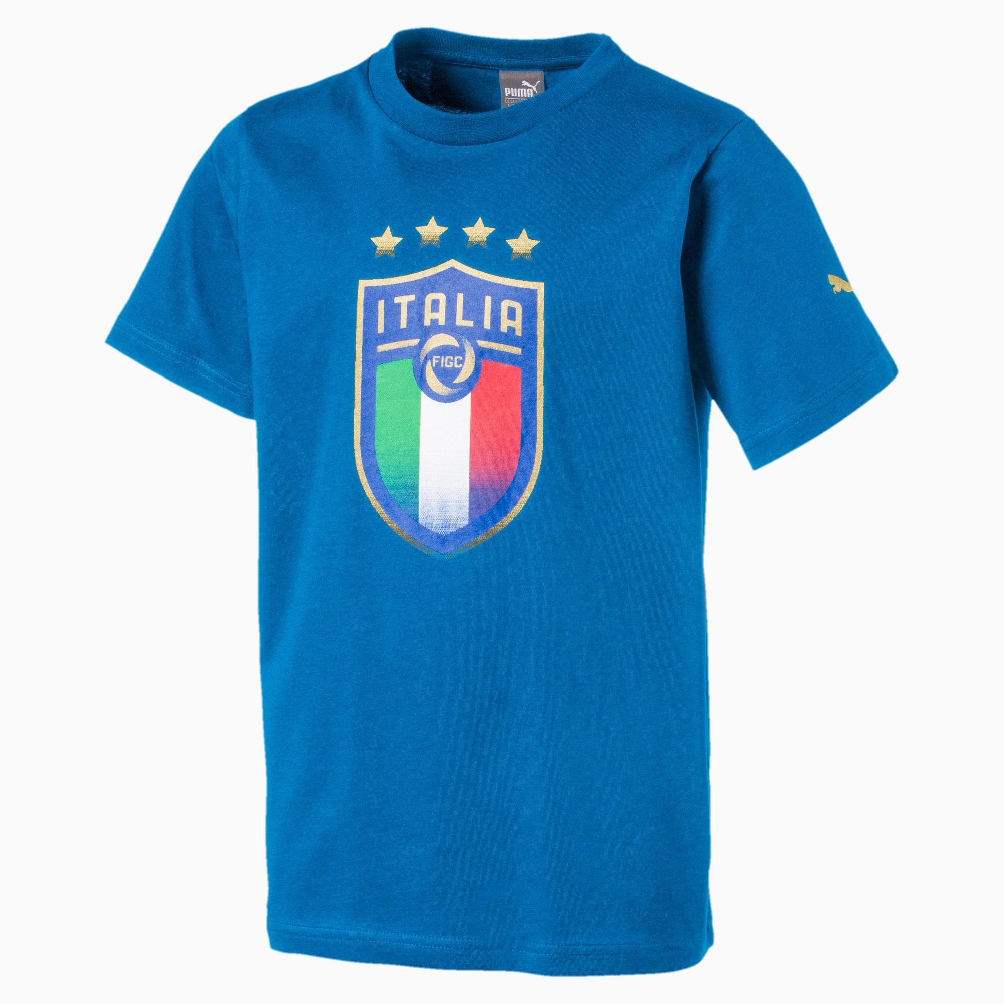 t-shirt italia avec emblème pour enfant pour homme, bleu, taille 164, vêtements