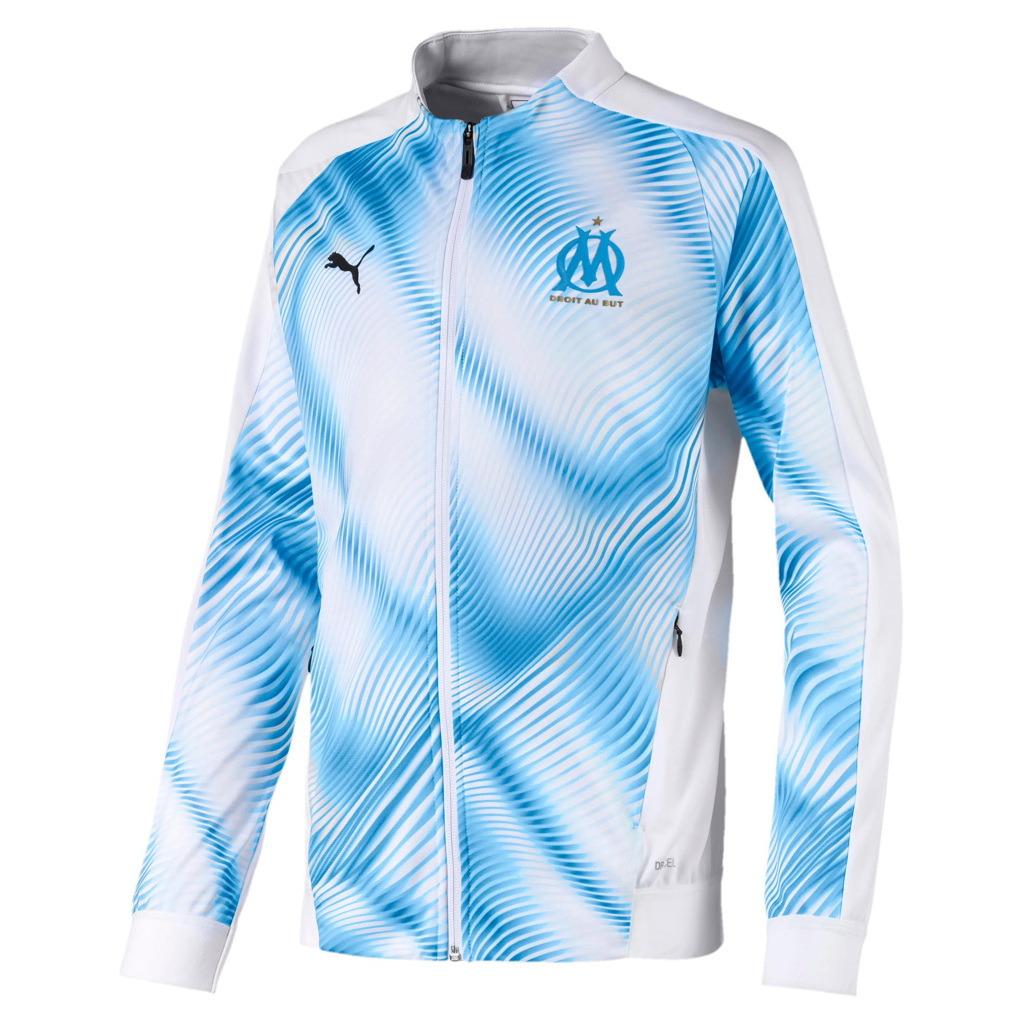 Olympique de Marseille Stadium Boys' Replica Jacket, Wit/Blauw, Maat 128   PUMA