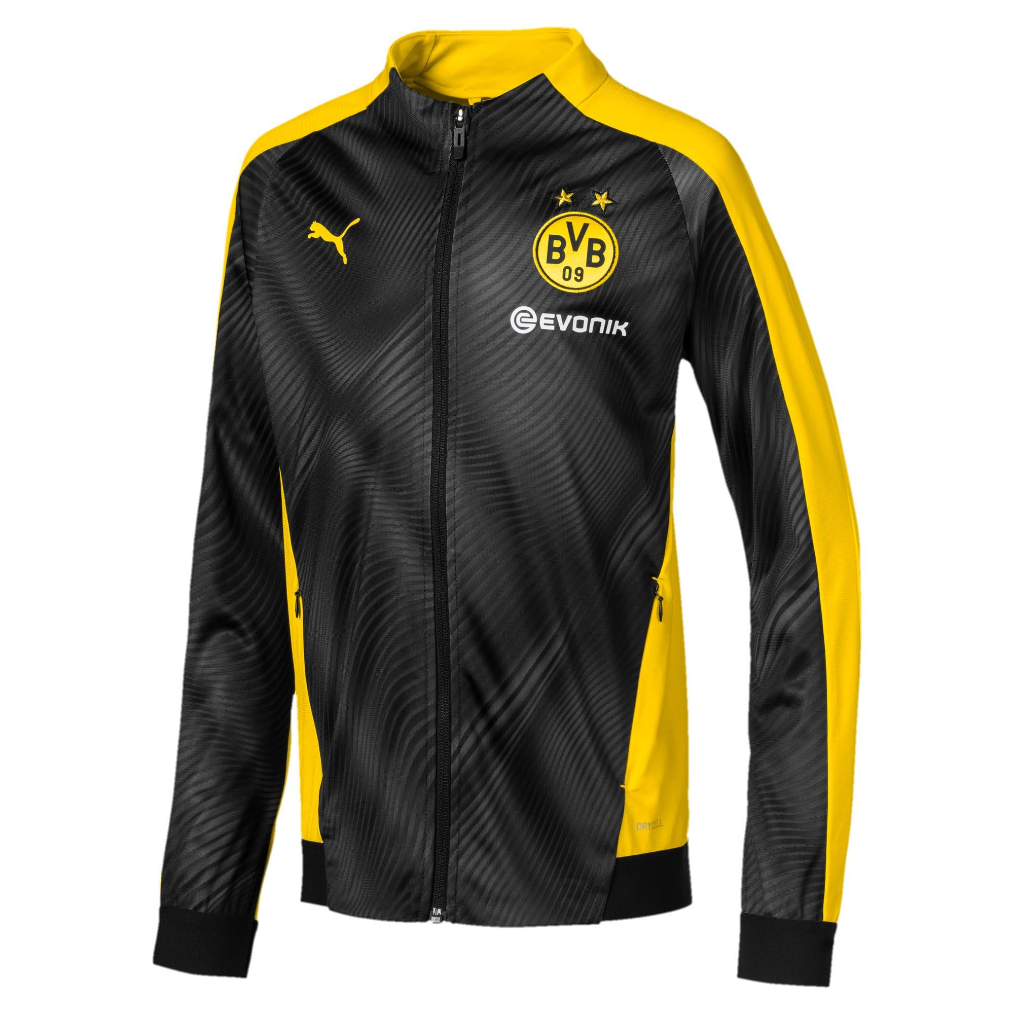 BVB League Kids' Stadium Jacket, Zwart/Geel, Maat 128   PUMA