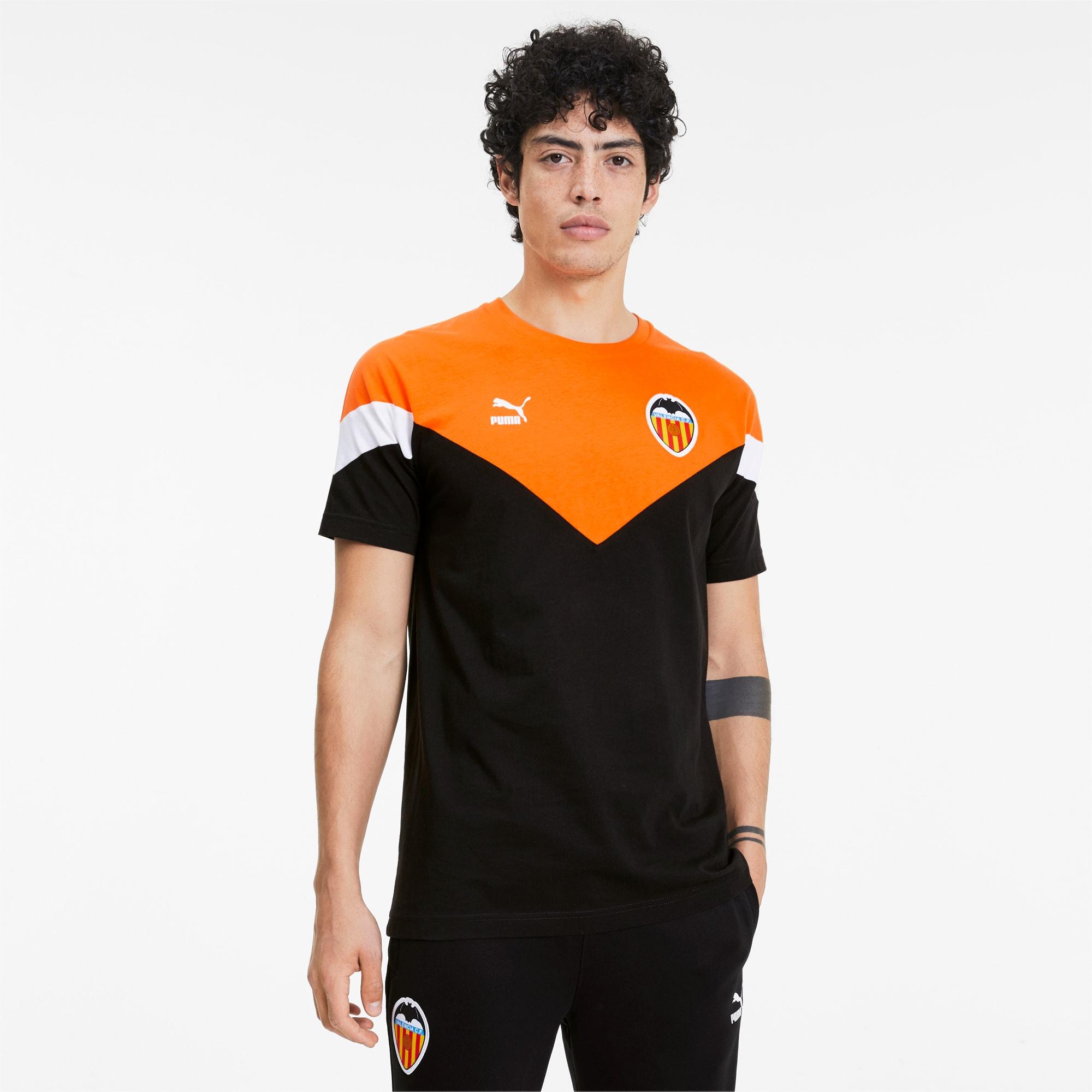 t-shirt valencia cf iconic mcs pour homme, noir/orange, taille m, vêtements
