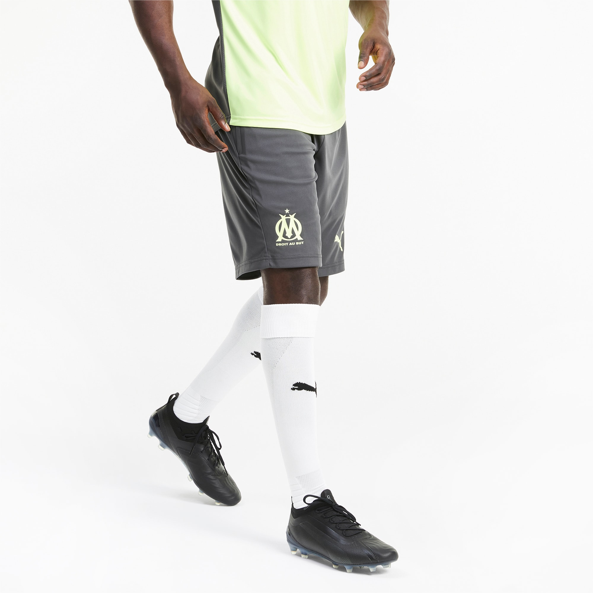 PUMA Olympique de Marseille Herren Trainingsshorts | Mit Aucun | Grau/Gelb | Größe: M