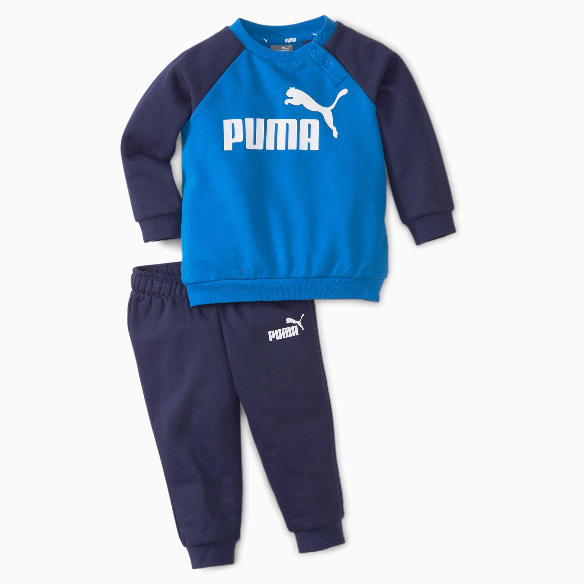 PUMA Minicats Essentials Raglan Babies' Jogger Set, Future Blue, size 3/6M, Clothing