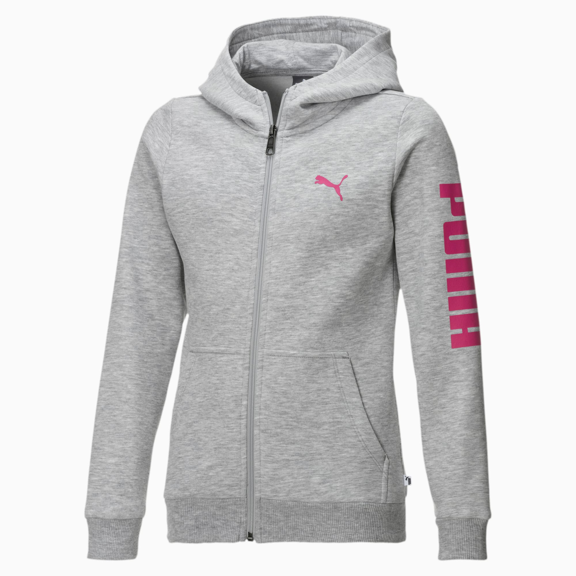 blouson en sweat fleece à capuche pour fille, gris/rose/bruyère, taille 140, vêtements