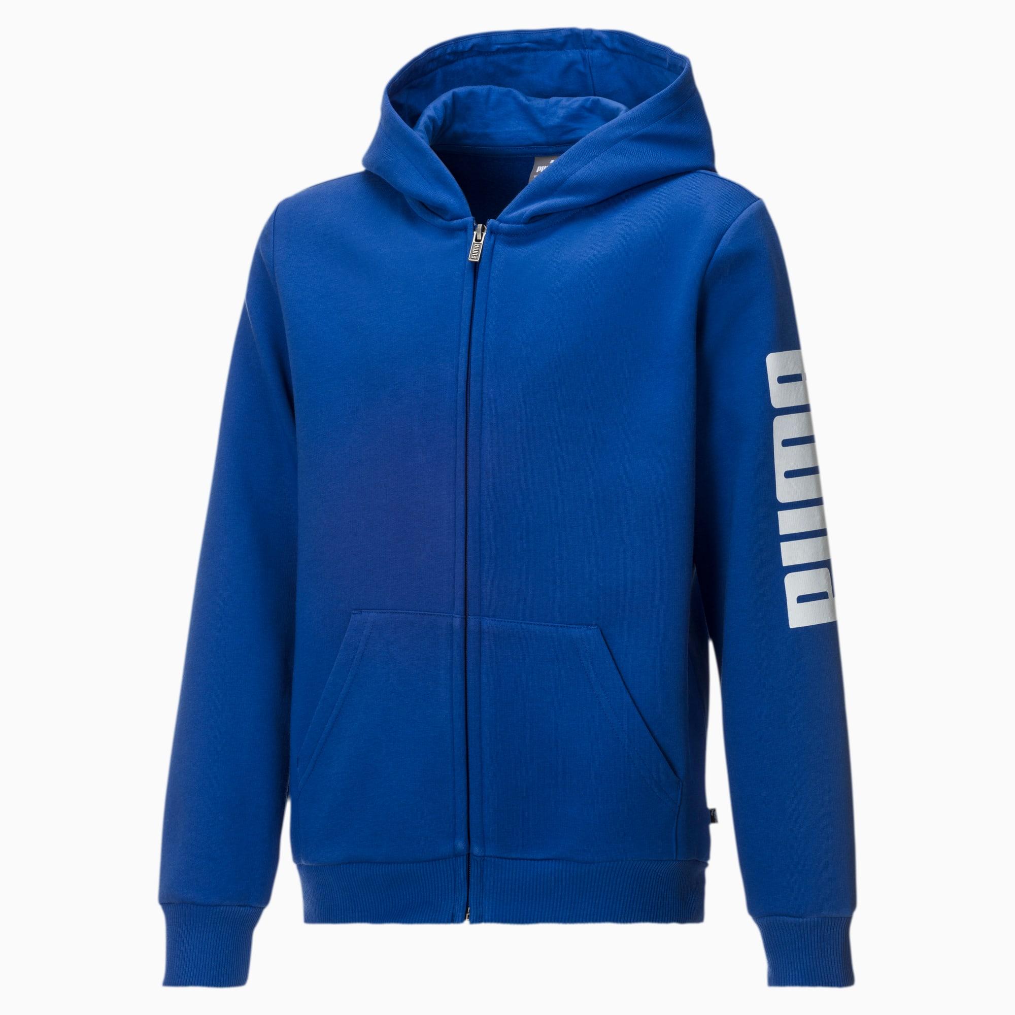 PUMA Blouson en sweat Fleece à capuche pour garçon, Bleu/Blanc, Taille 128, Vêtements