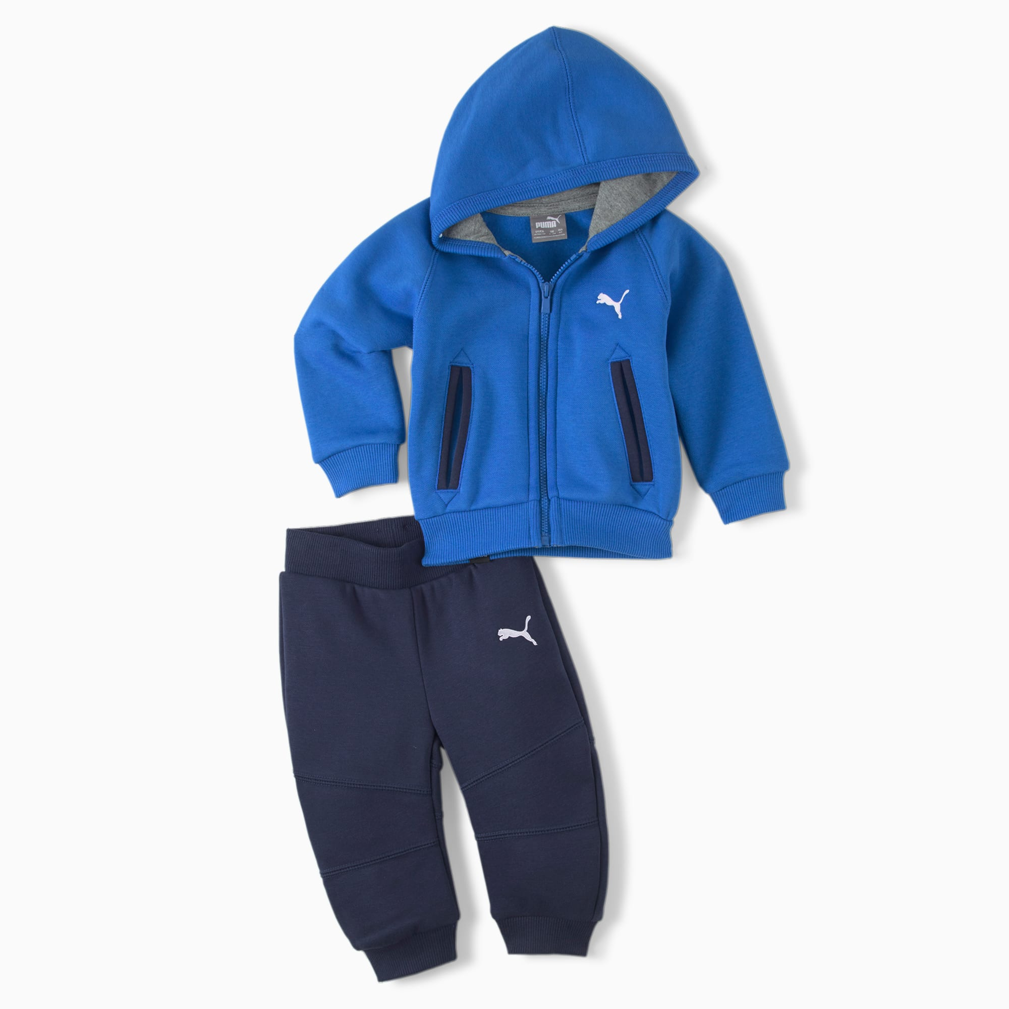 PUMA Cn Hooded Babies' Jogger Set, Strong Blue, size 4-6 Months, Clothing