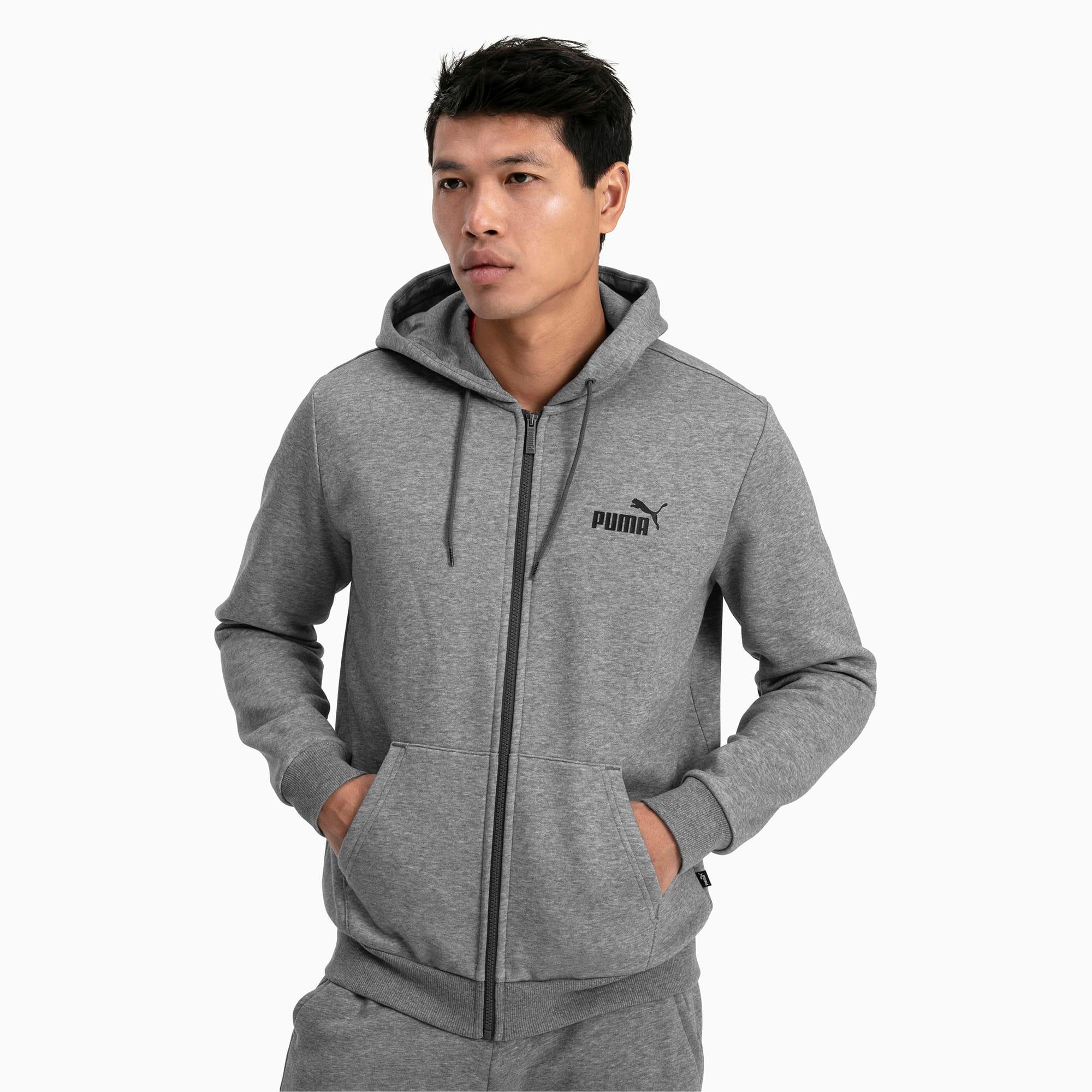 blouson à capuche essentials fleece pour homme, gris/bruyère, taille l, vêtements