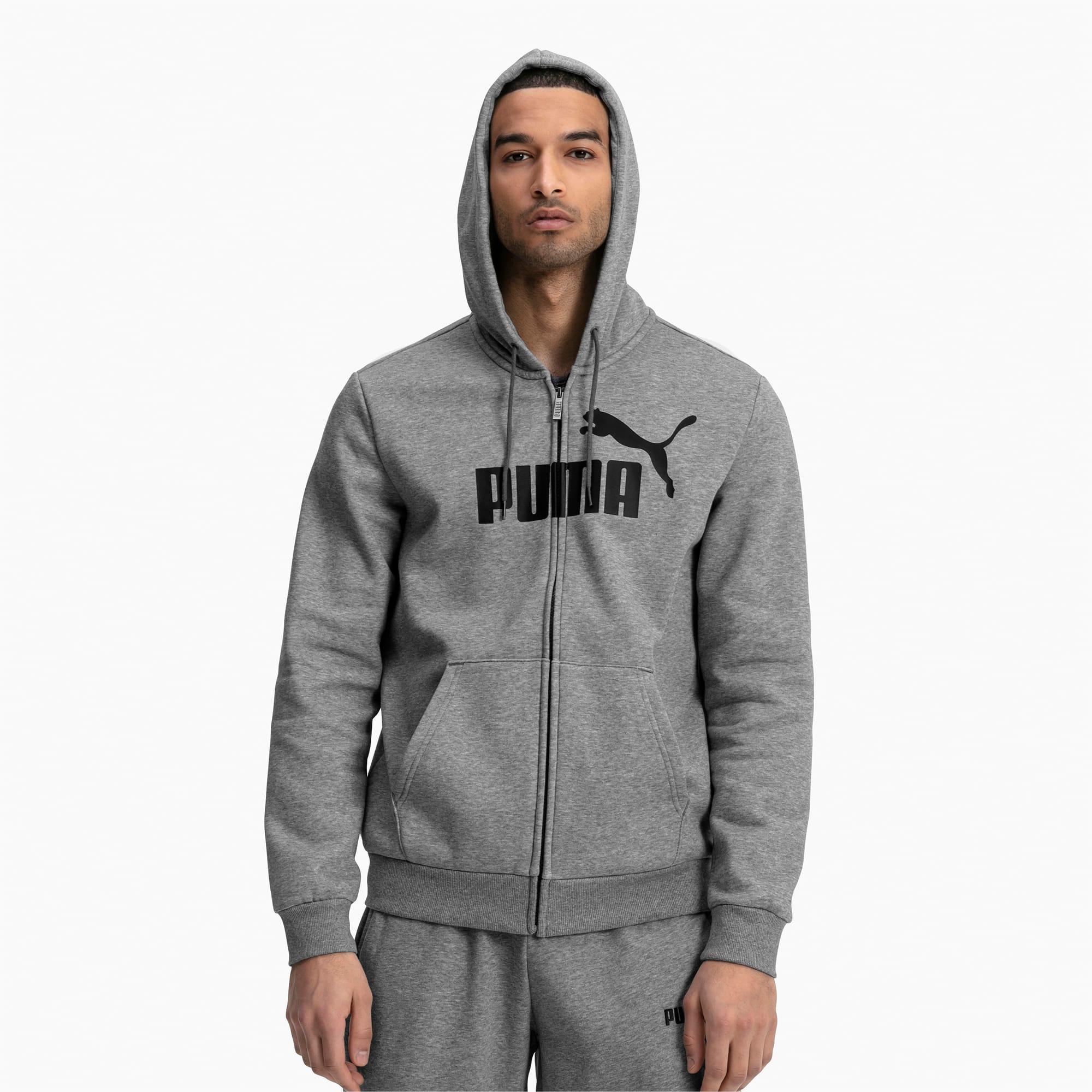 blouson en sweat essentials fleece à capuche pour homme, gris/bruyère, taille xs, vêtements