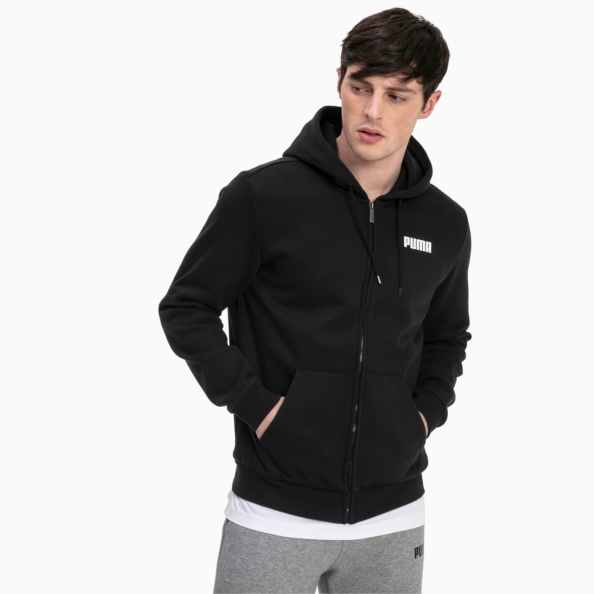 blouson en sweat essentials fleece à capuche pour homme, noir, taille s, vêtements