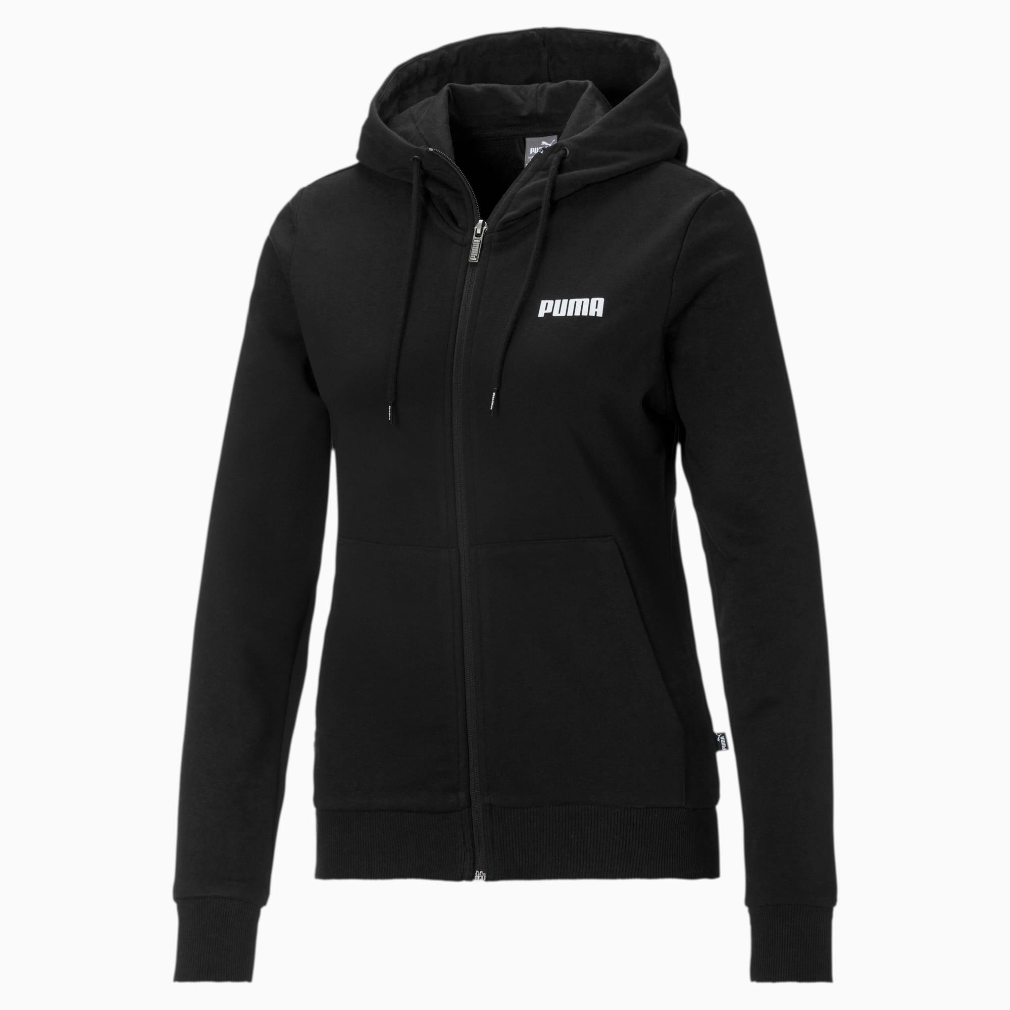 blouson de survêtement à capuche essentials, noir, taille xl, vêtements