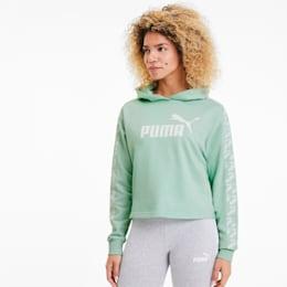 PUMA Damska Skrócona Bluza Treningowa Z Kapturem, Zielony, Odzież
