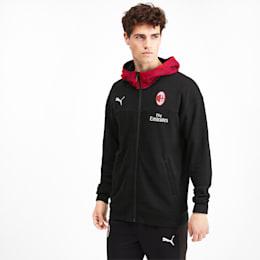PUMA Męska Bluza Z Kapturem AC Milan Casuals Czarny Czerwony, rozmiar XS, Odzież