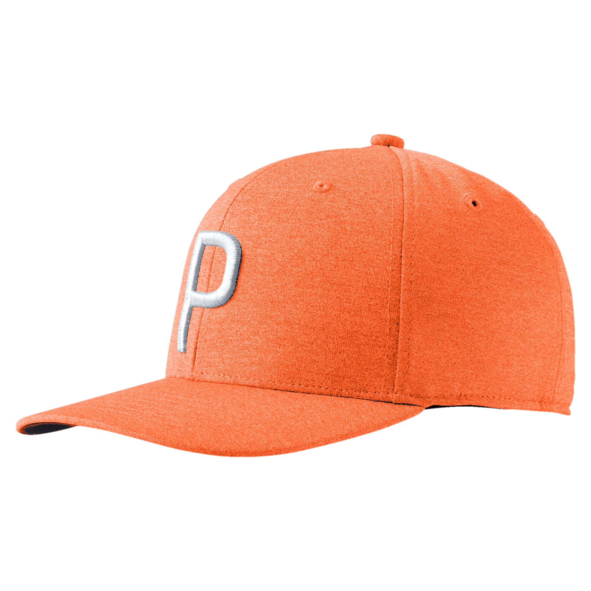 PUMA Golf Men's P Snapback Cap in Vibrant Orange