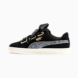 Suede Heart Snake Lux Women's Sneakers, Puma Black-Puma Team Gold, small
