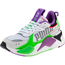 RS-X Bold Fluorescent Sneakers JR, PWhite-Gr Gecko-Royal Lilac, small