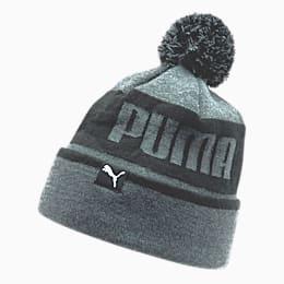 Gorro de lana PUMA para hombre, con pompón y dobladillo en contraste